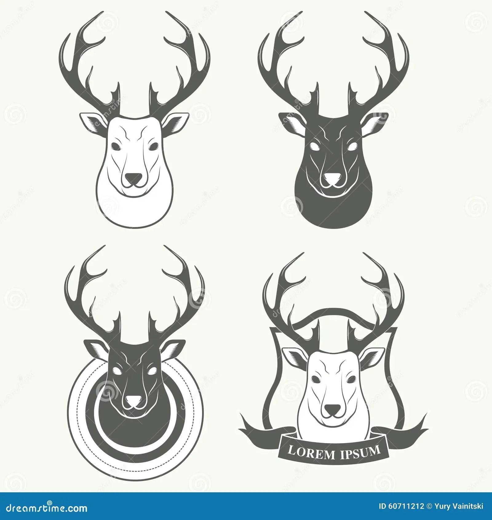 Deer Head Vector Illustration Elk Silhouette Vector