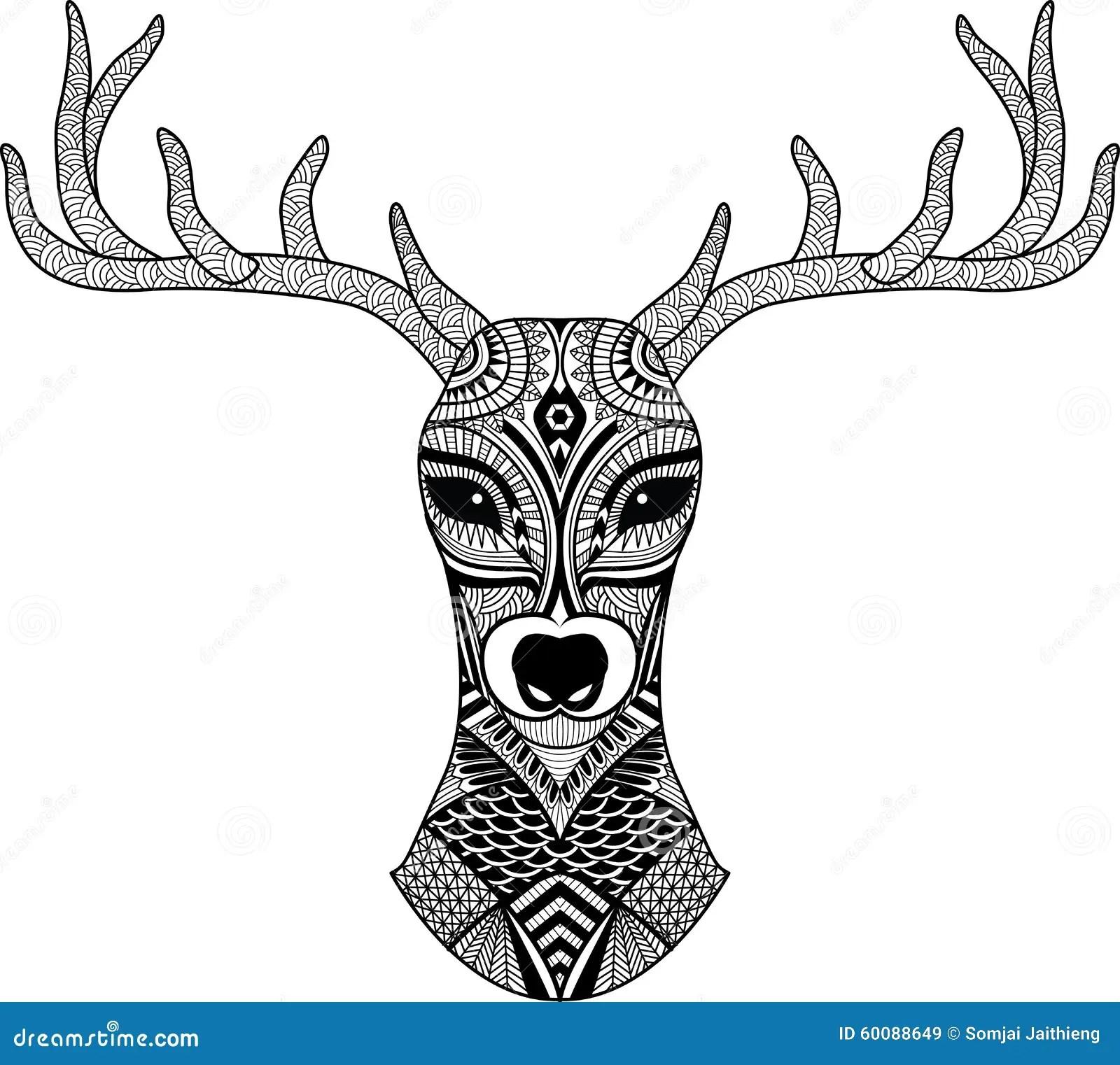 Deer Head Stylized In Zentangle Style Tribal Tattoo Design Vector Stock Vector