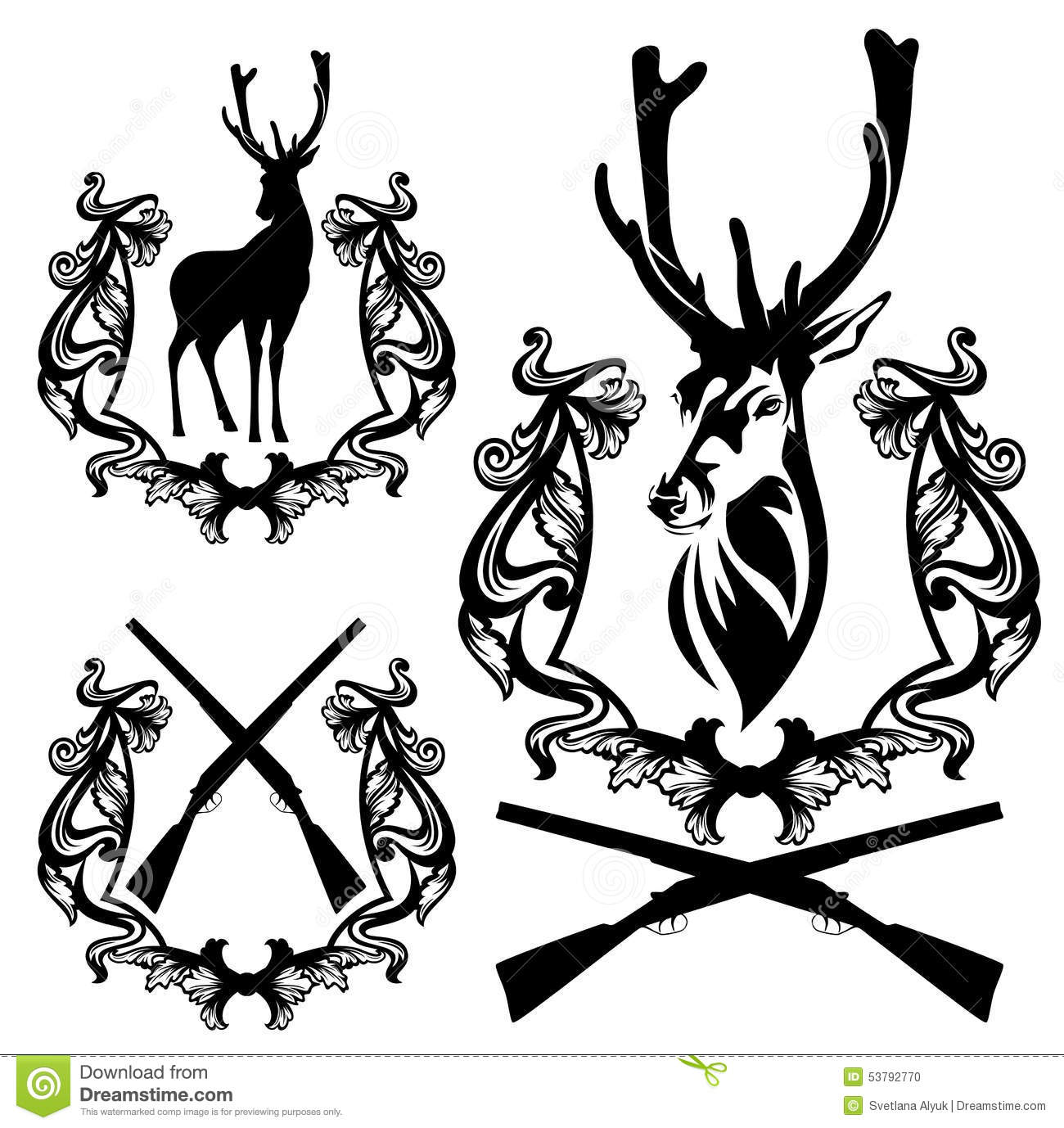 Deer Hunting Set Stock Vector Image Of Club Illustration