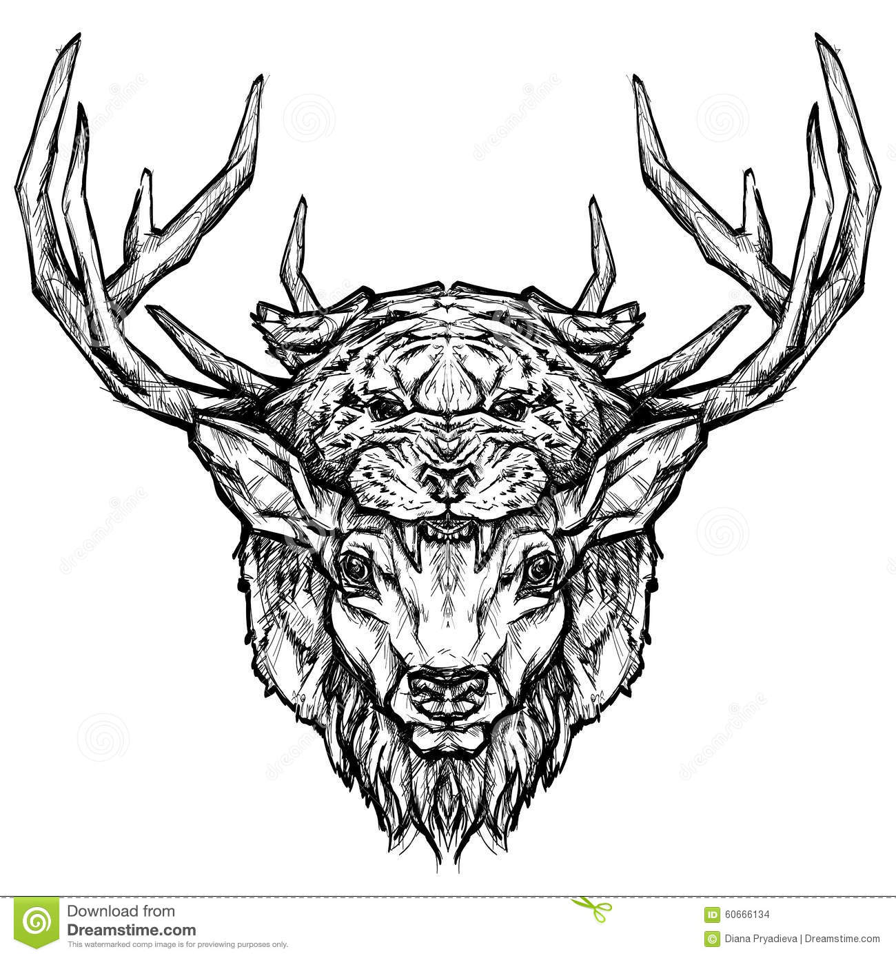 Deer And Tiger Head Tattoo Psychedelic Hand Drawn Style