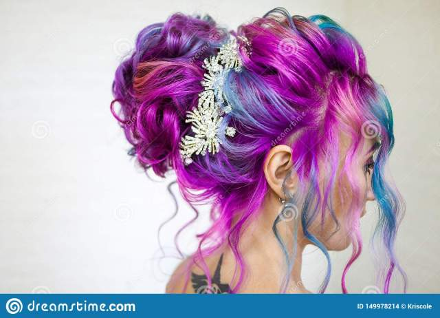 delightfully bright colored hair, multi-colored coloring on