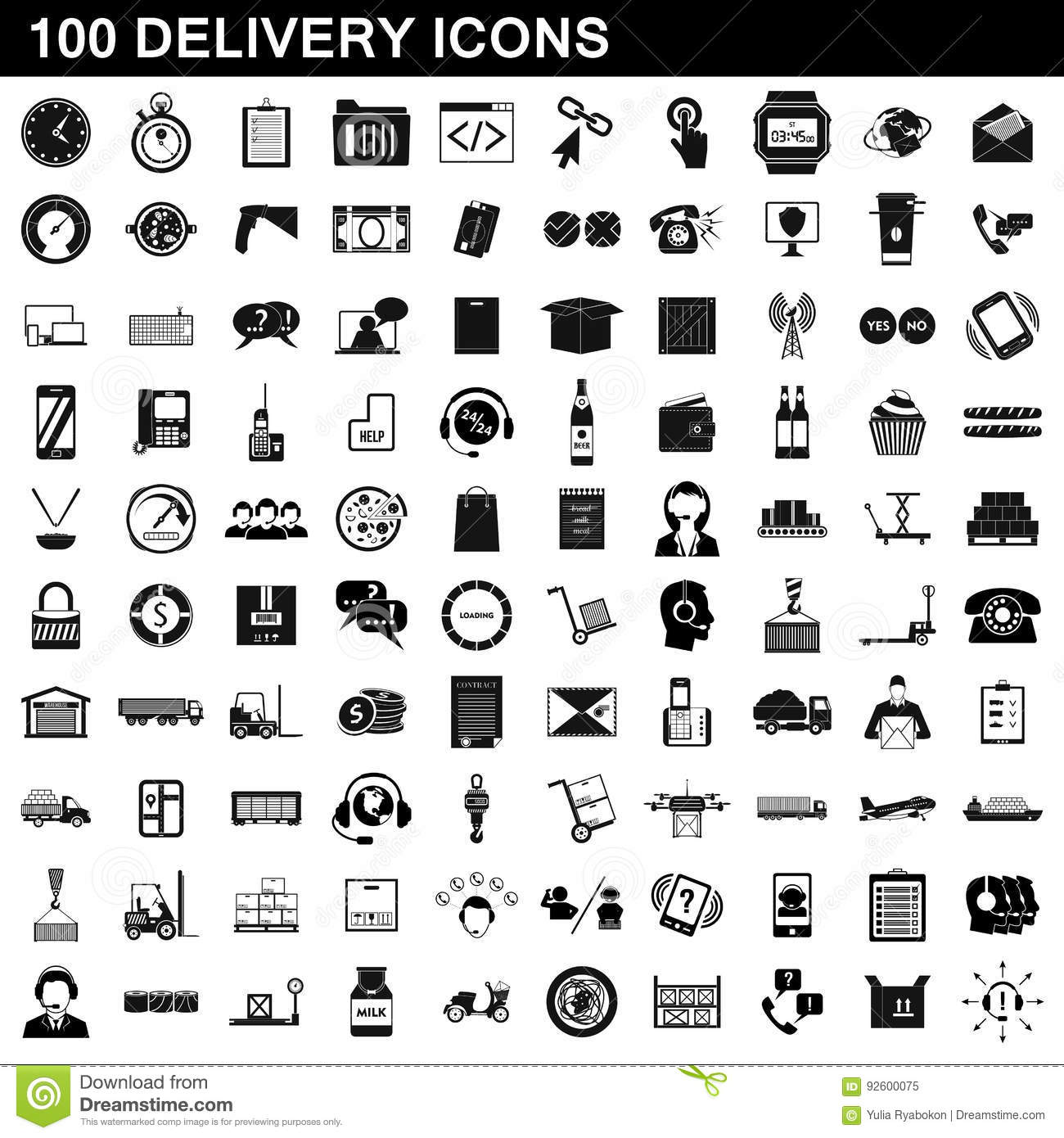 100 Delivery Icons Set Simple Style Stock Vector