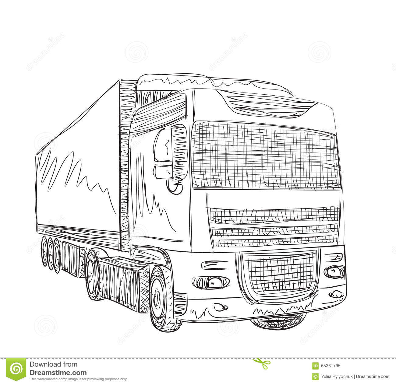 Delivery Service Hand Drawn Truck Stock Vector