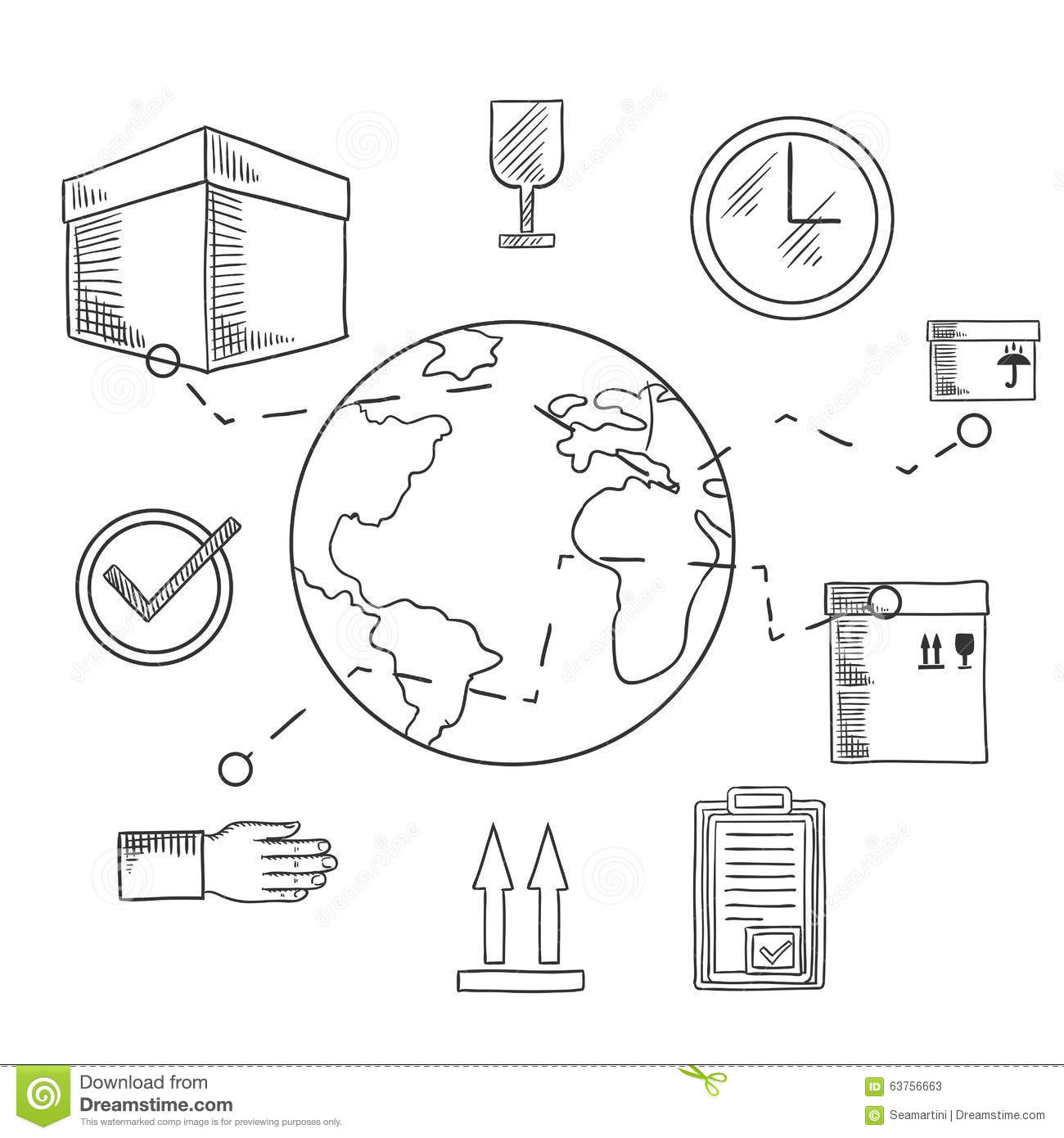 Delivery And Shipping Service Sketched Icons Stock Vector