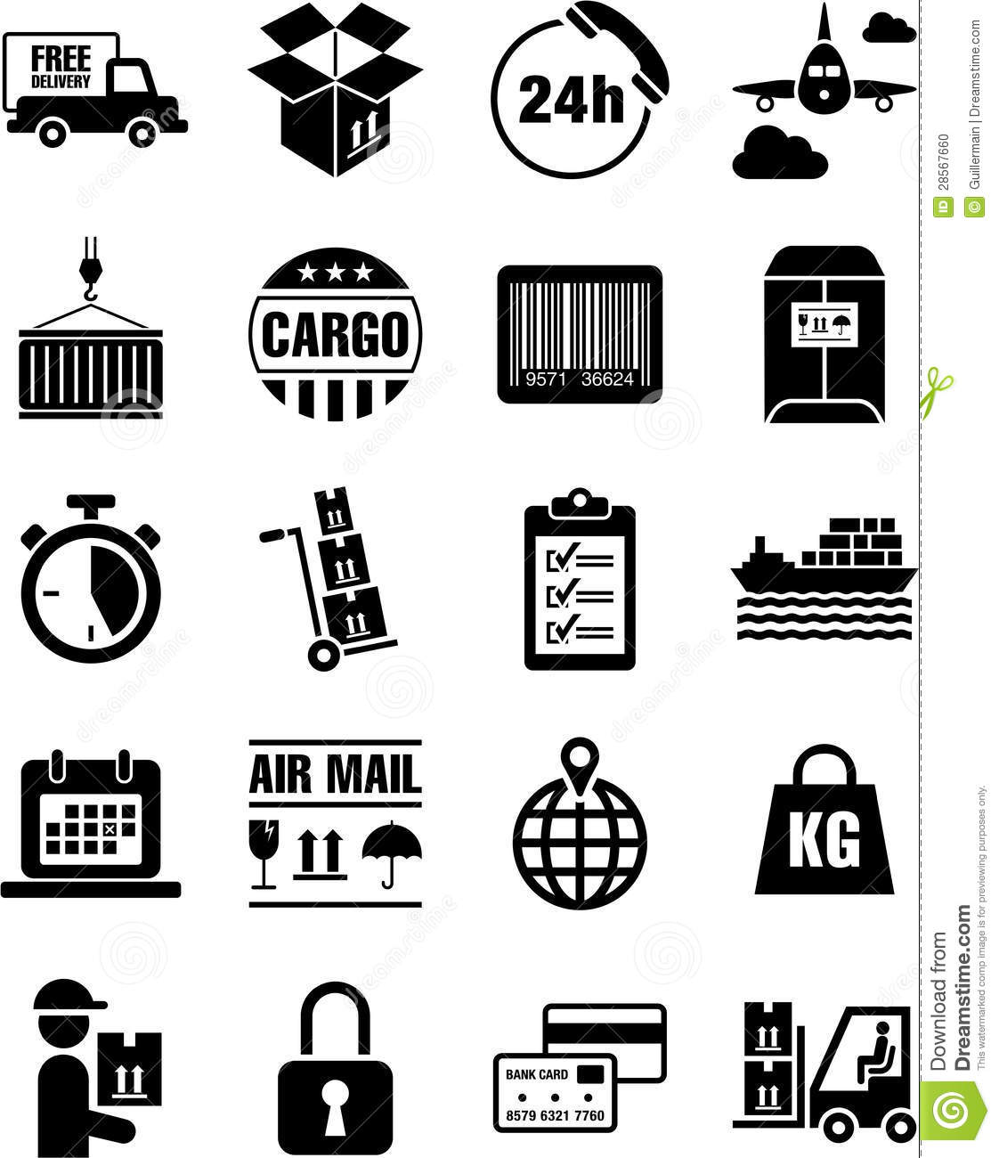 Delivery Transport And Cargo Icons Stock Vector