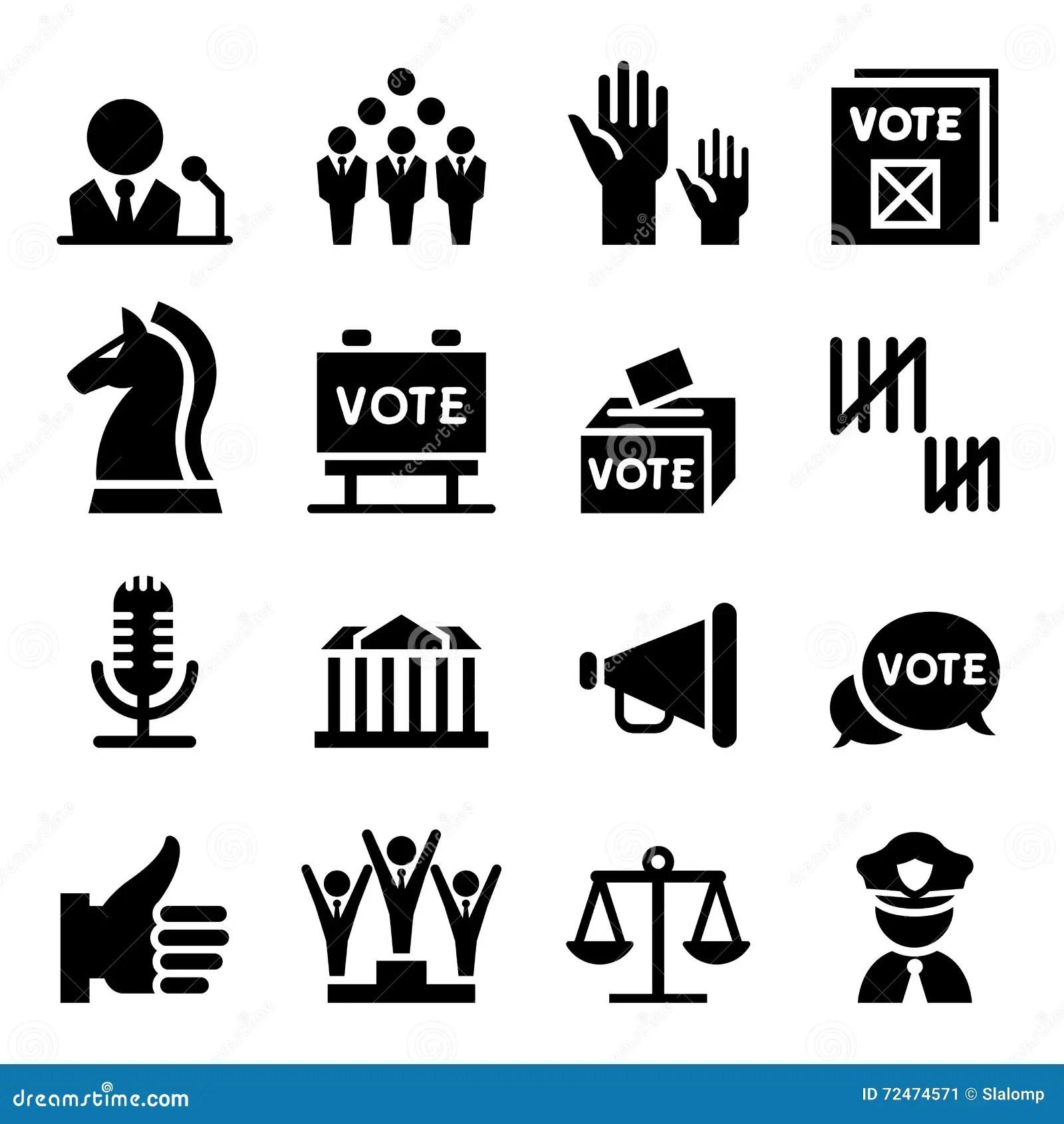 Democracy Icon Set Cartoon Vector