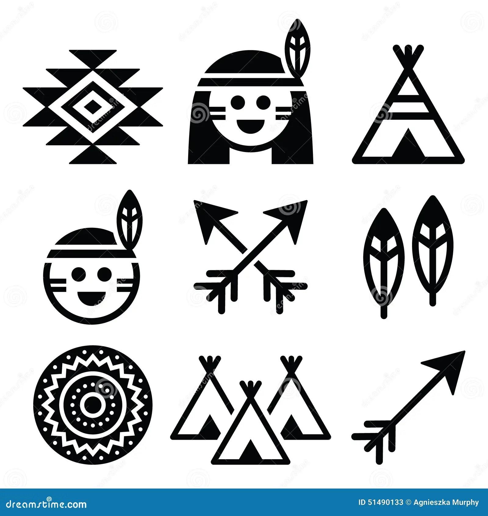 Den Indiska Amerikanen Urbefolkningen Och Kultursymboler Stallde In Vektor Illustrationer