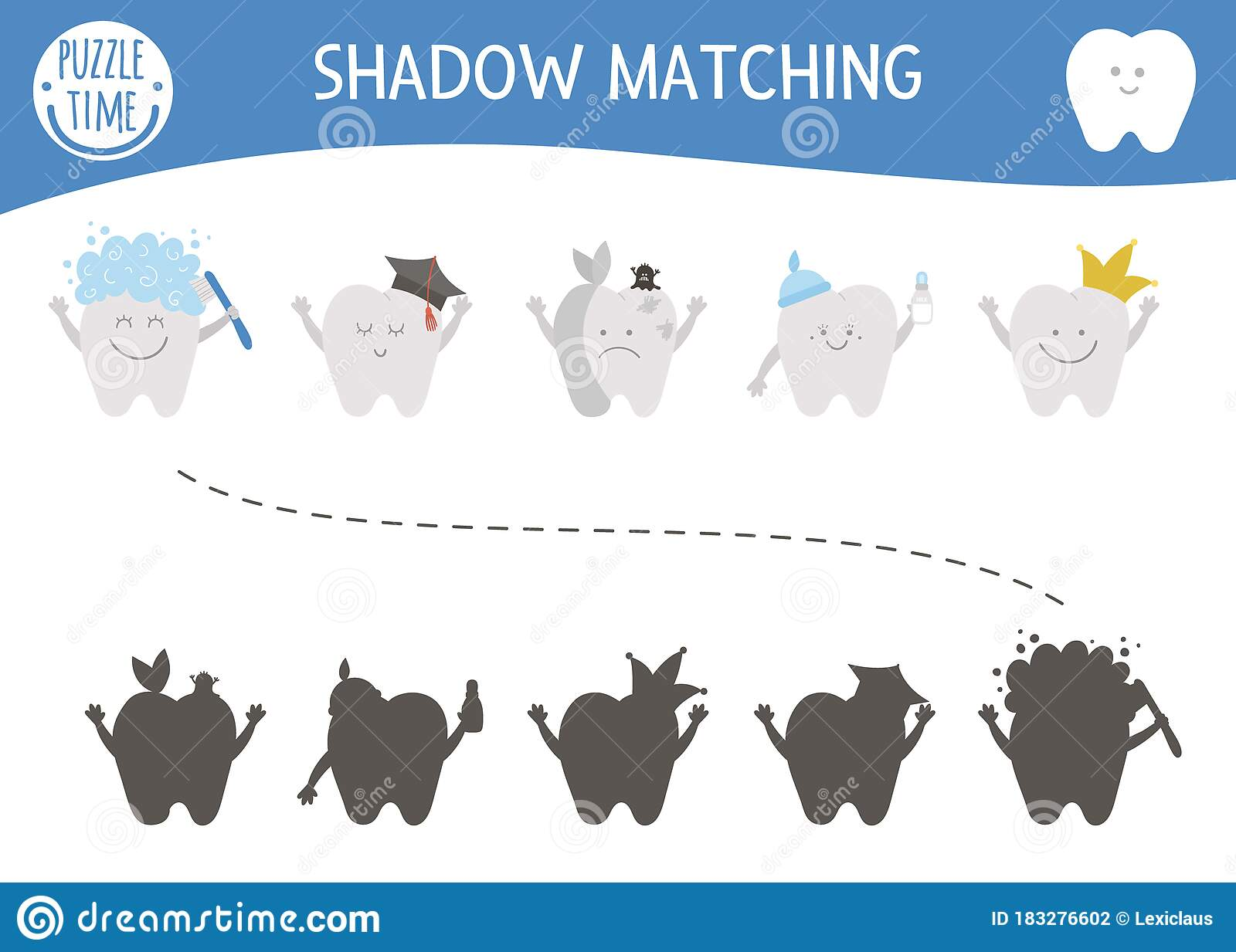 Dental Care Shadow Matching Activity For Children With