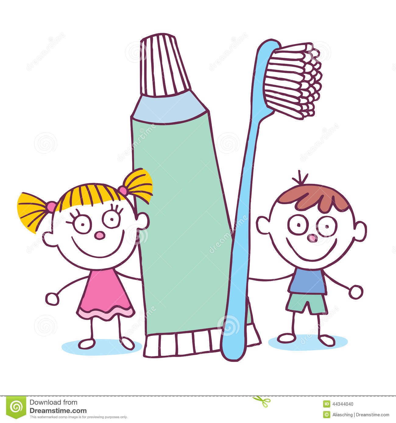 Dental Hygiene Kids With Toothbrush And Toothpaste Stock