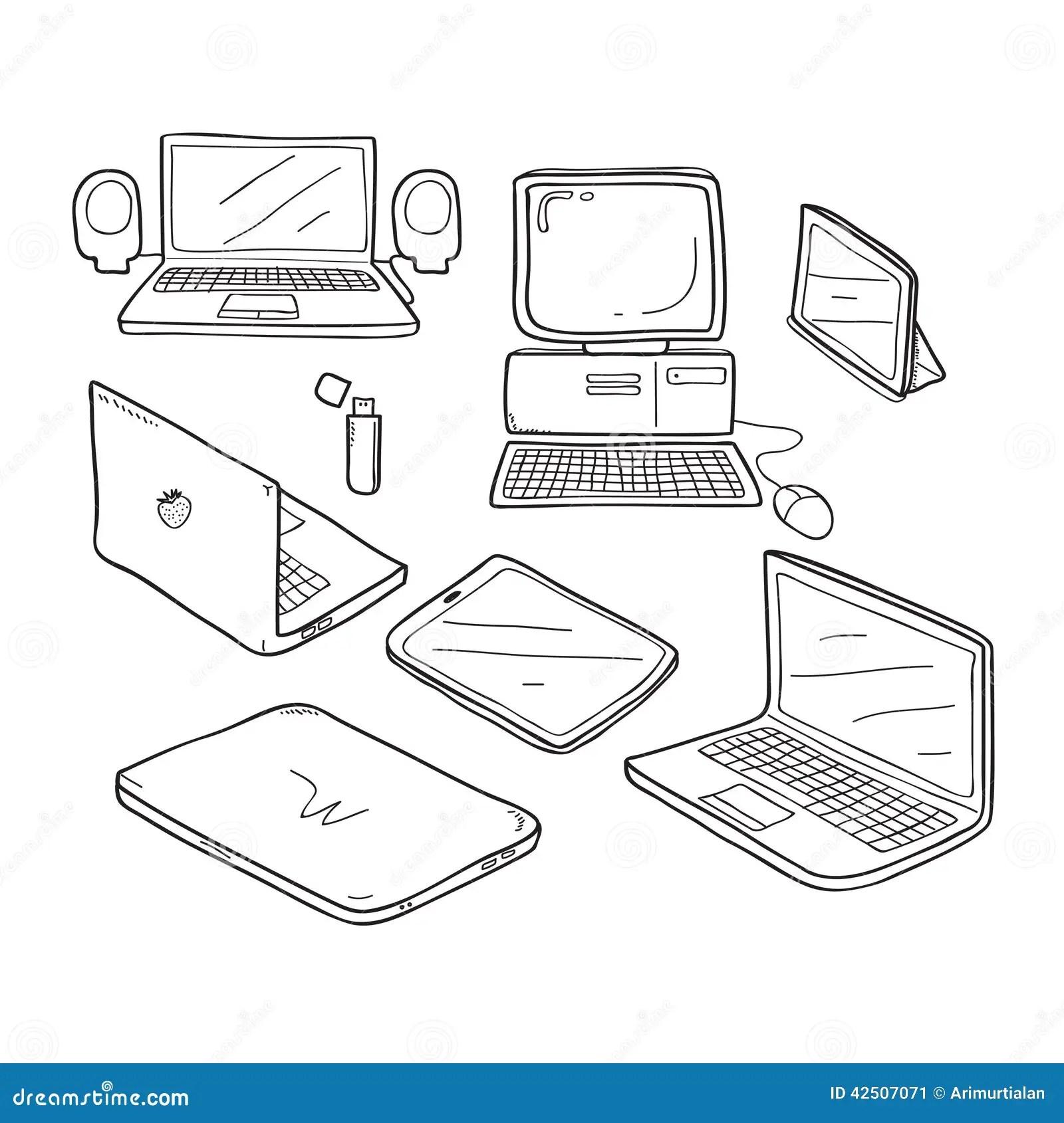 Desenho Da Garatuja Do Computador Ilustracao Stock