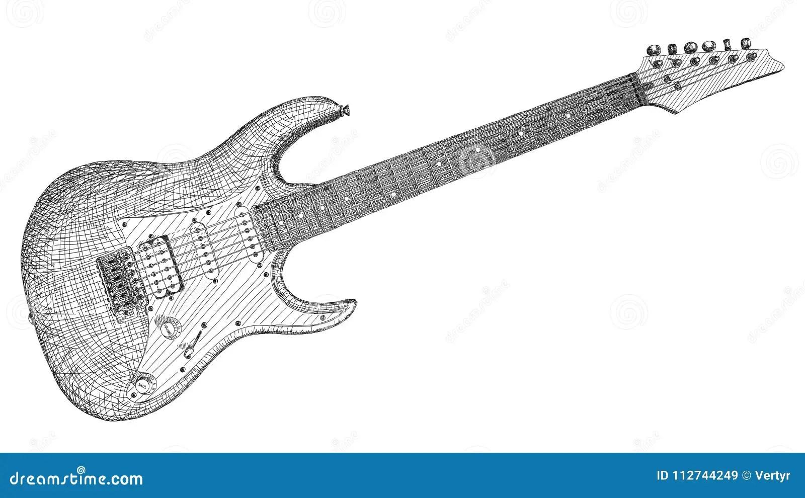 Desenho Da Ilustracao Do Vetor Da Guitarra Eletrica