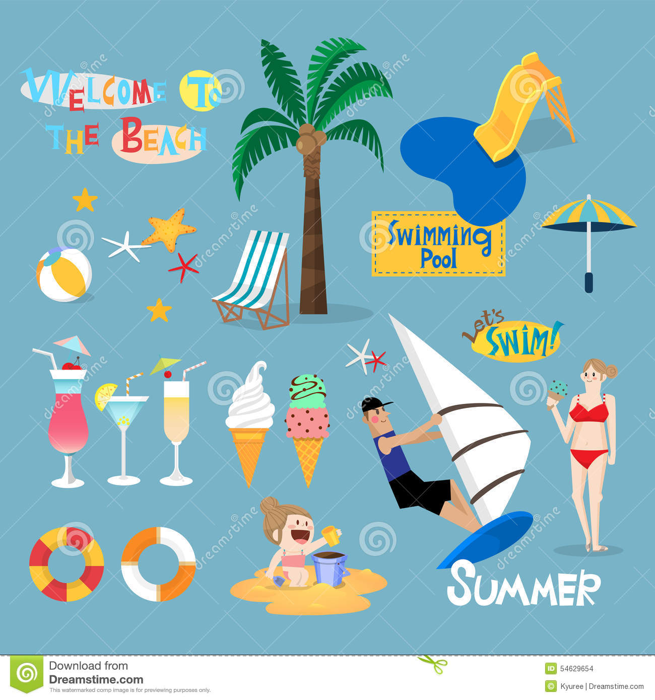 Design Element For Summer Vacation Stock Vector