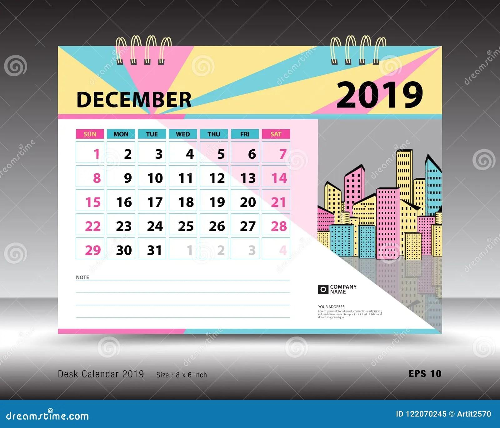 Desk Calendar For DECEMBER 2019 Template Printable Calendar Planner Design Template Stock