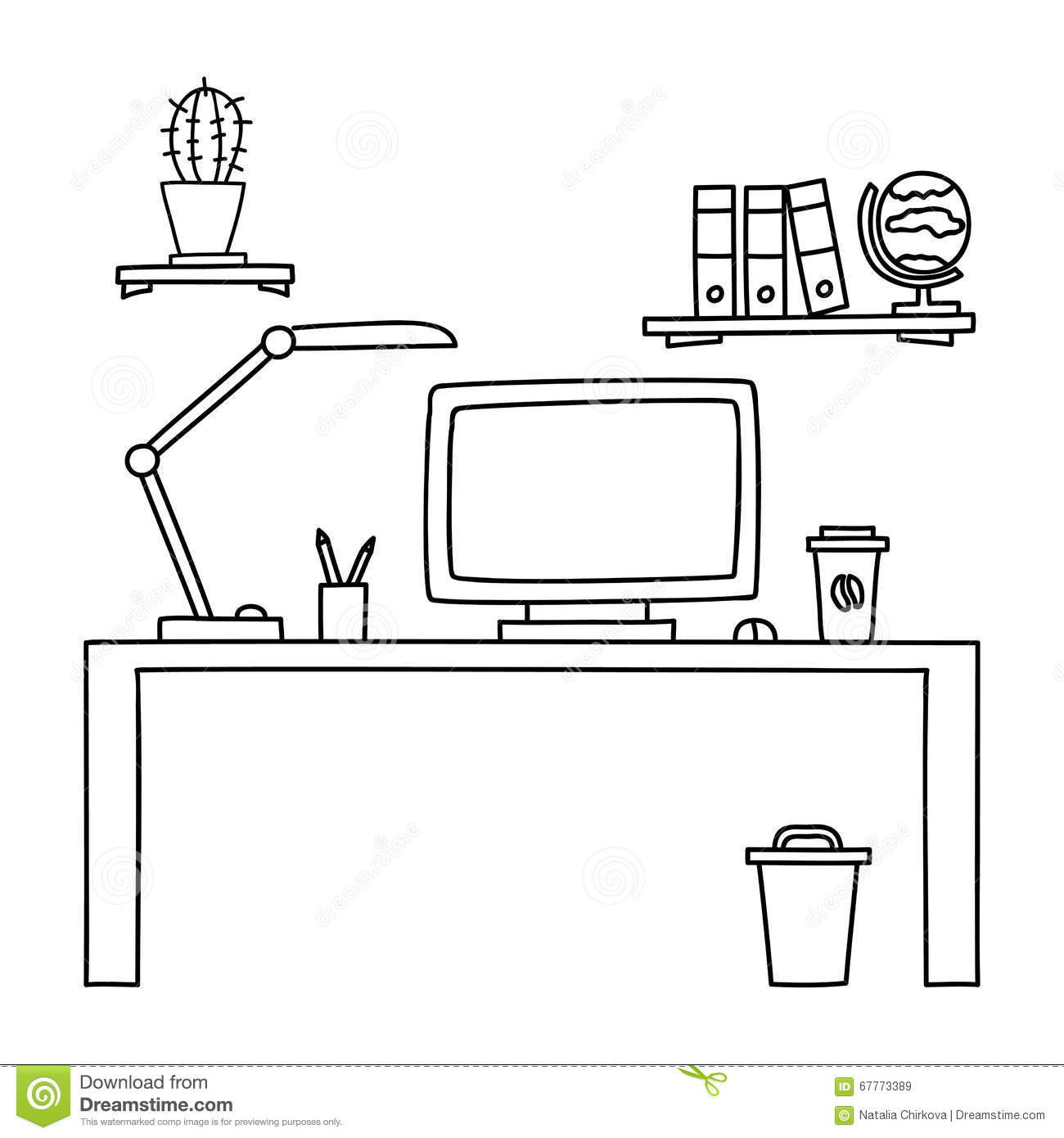 Desk With A Computer Or Workplace In Office Drawn By Hand