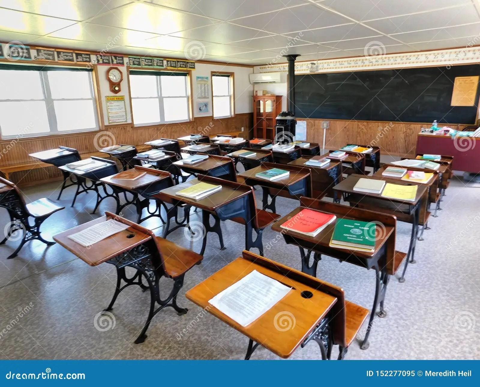 Desks Inside A One Room Schoolhouse Editorial Image