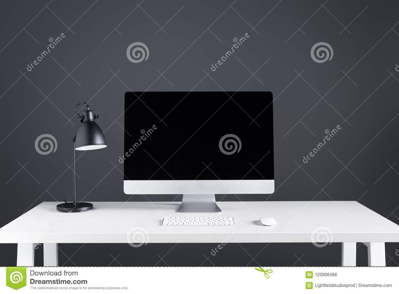 Desktop Computer With Blank Screen With Keyboard And