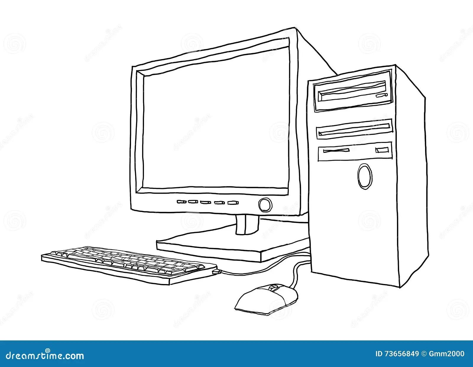 Desktop Computer Hand Drawn Line Art Painting Cute