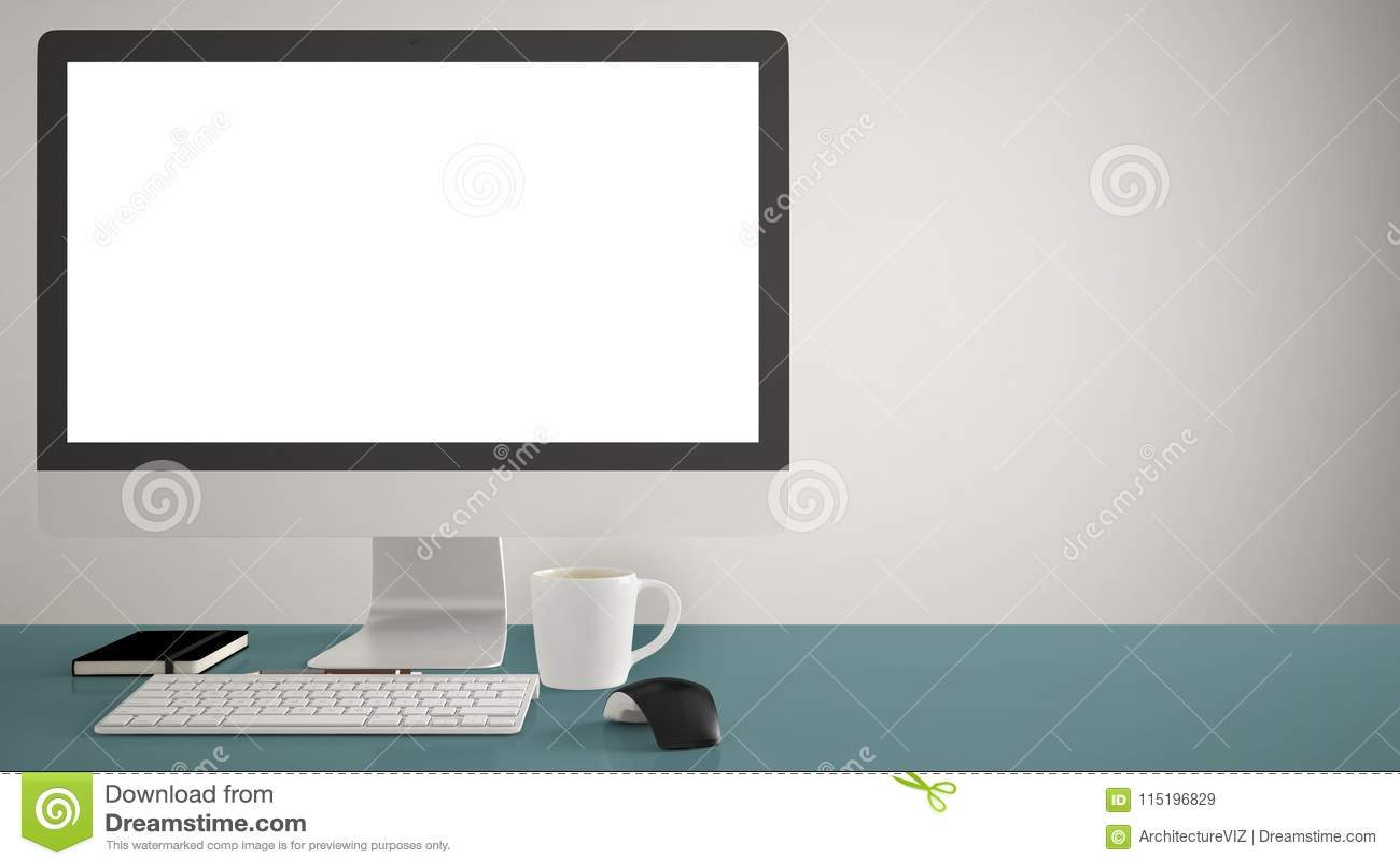 Desktop Mockup Template Computer On Blue Pantone Colored
