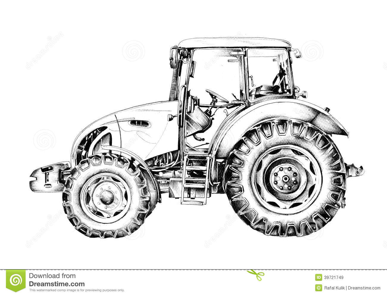 Dessin D Art D Illustration De Tracteur Agricole