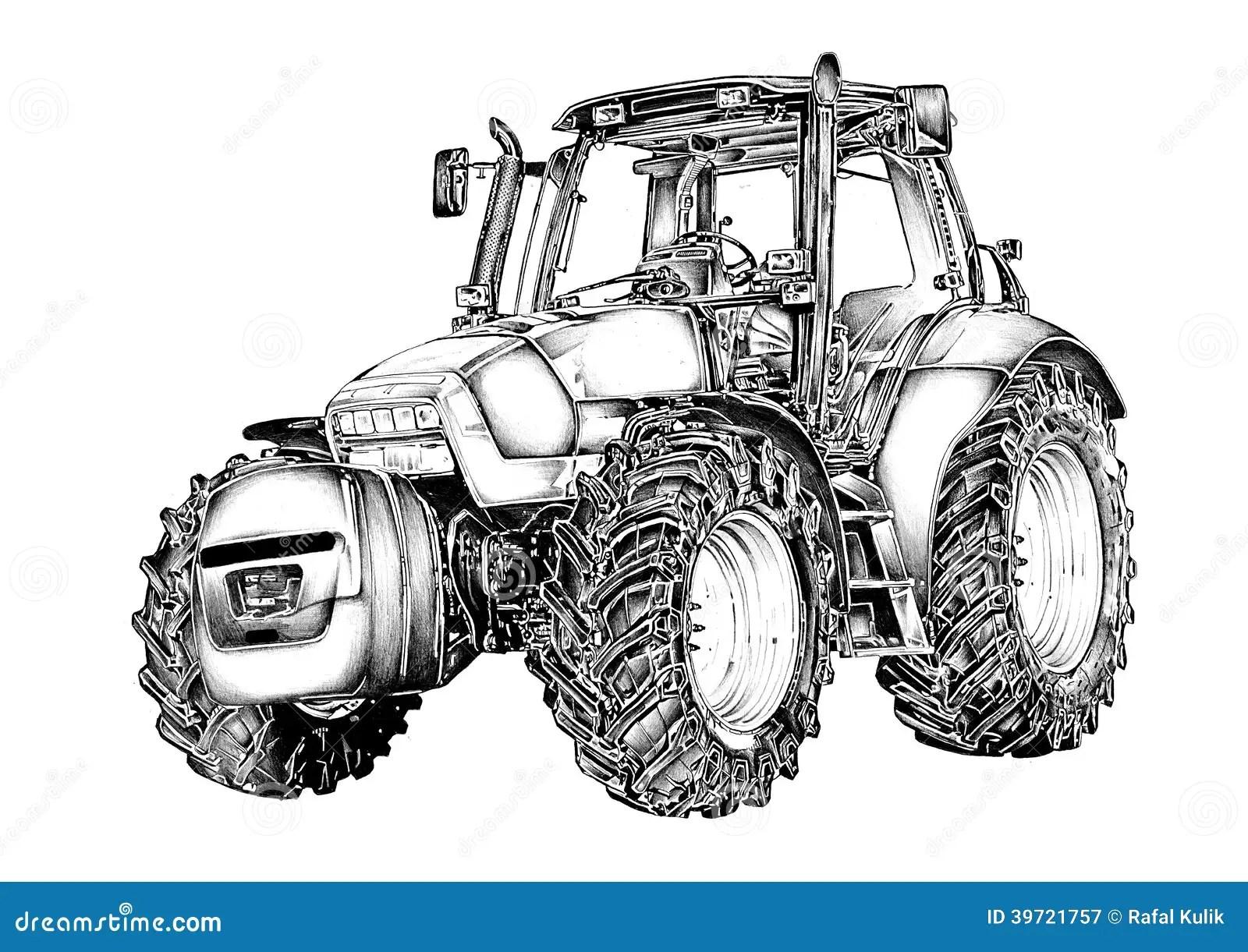 Dessin D Art D Illustration De Tracteur Agricole