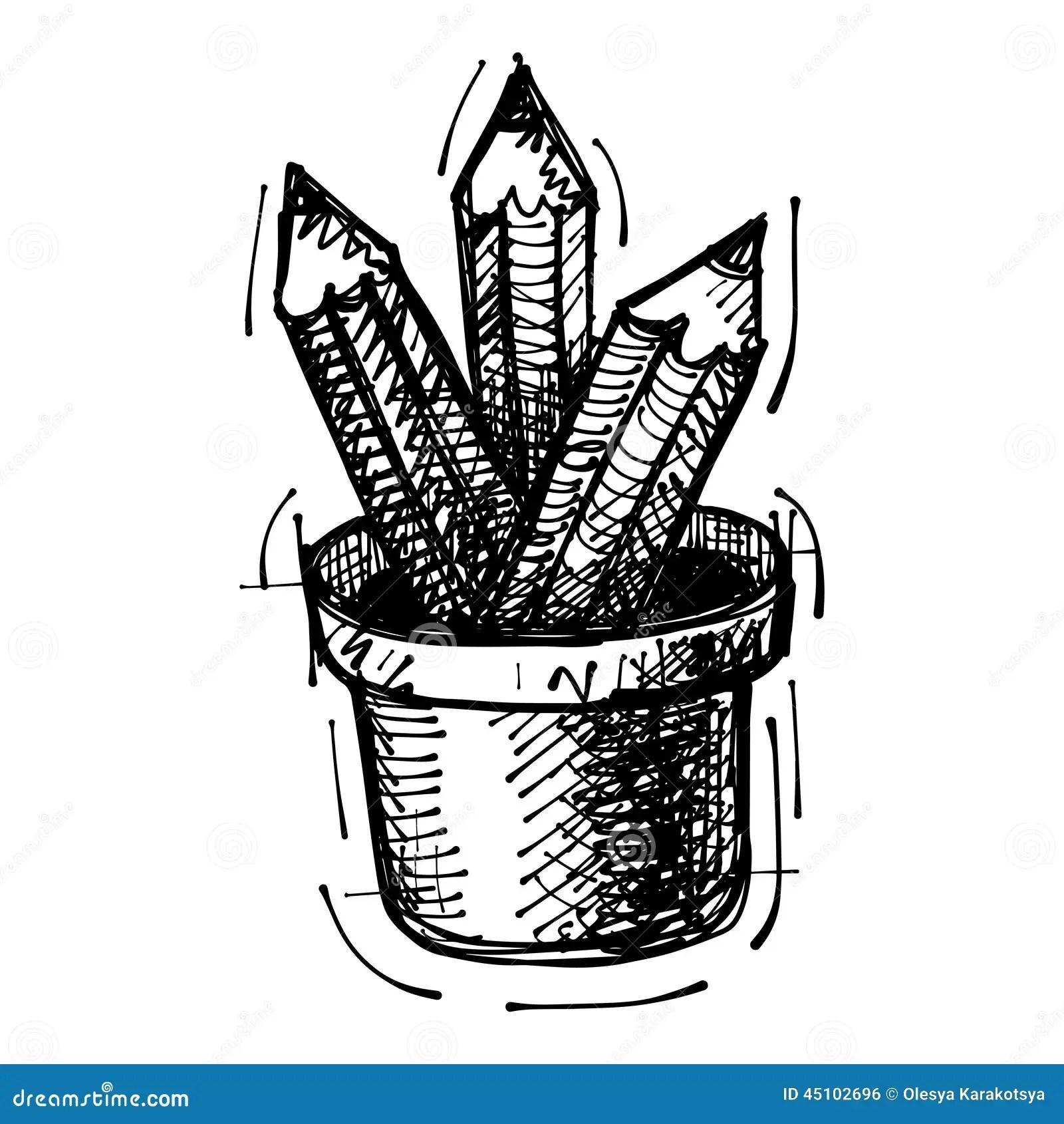 Dessin De Croquis Noir Des Crayons Illustration De Vecteur