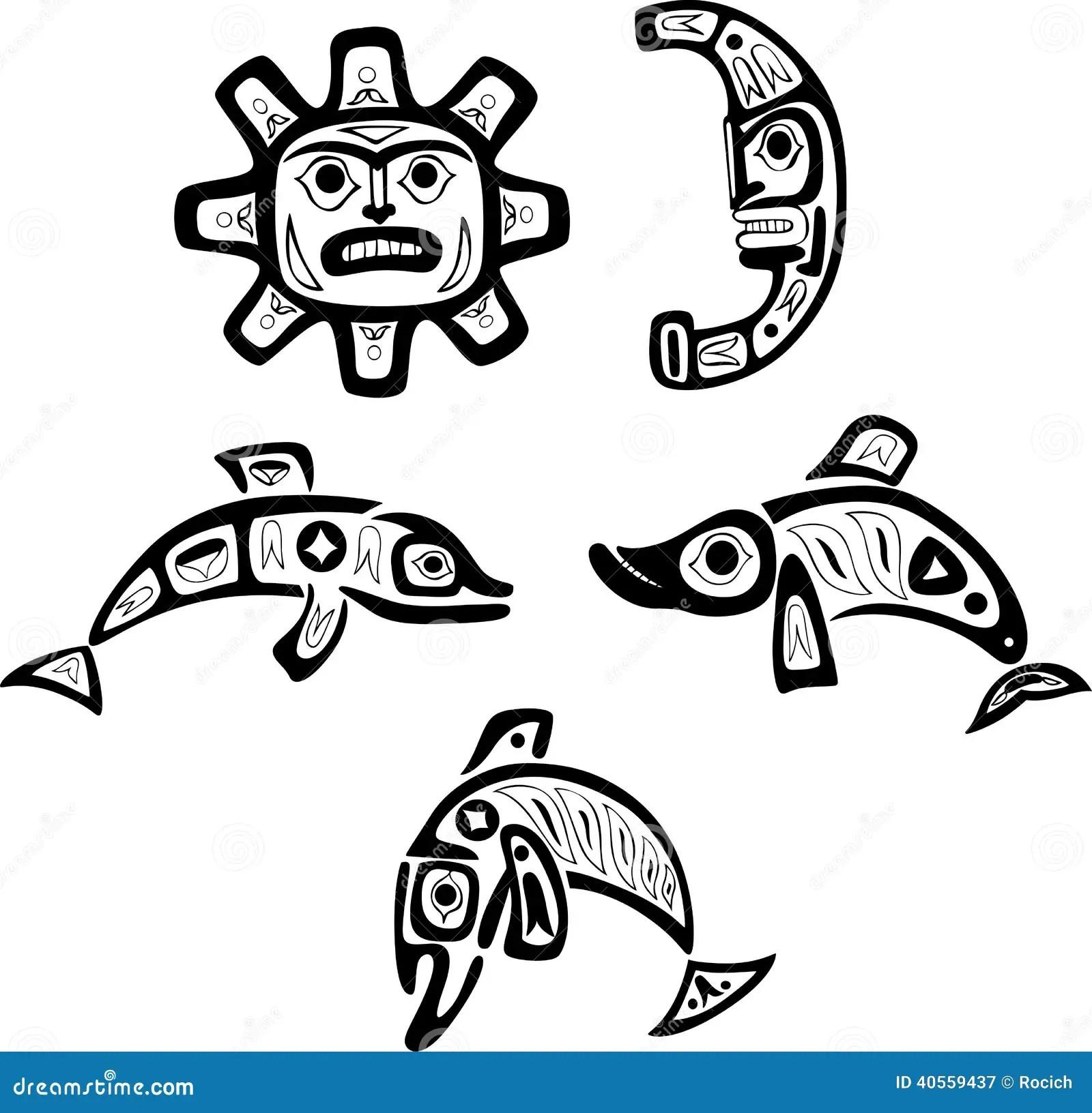 Dessins Indigenes De Tribal De Shoshone Poissons Le