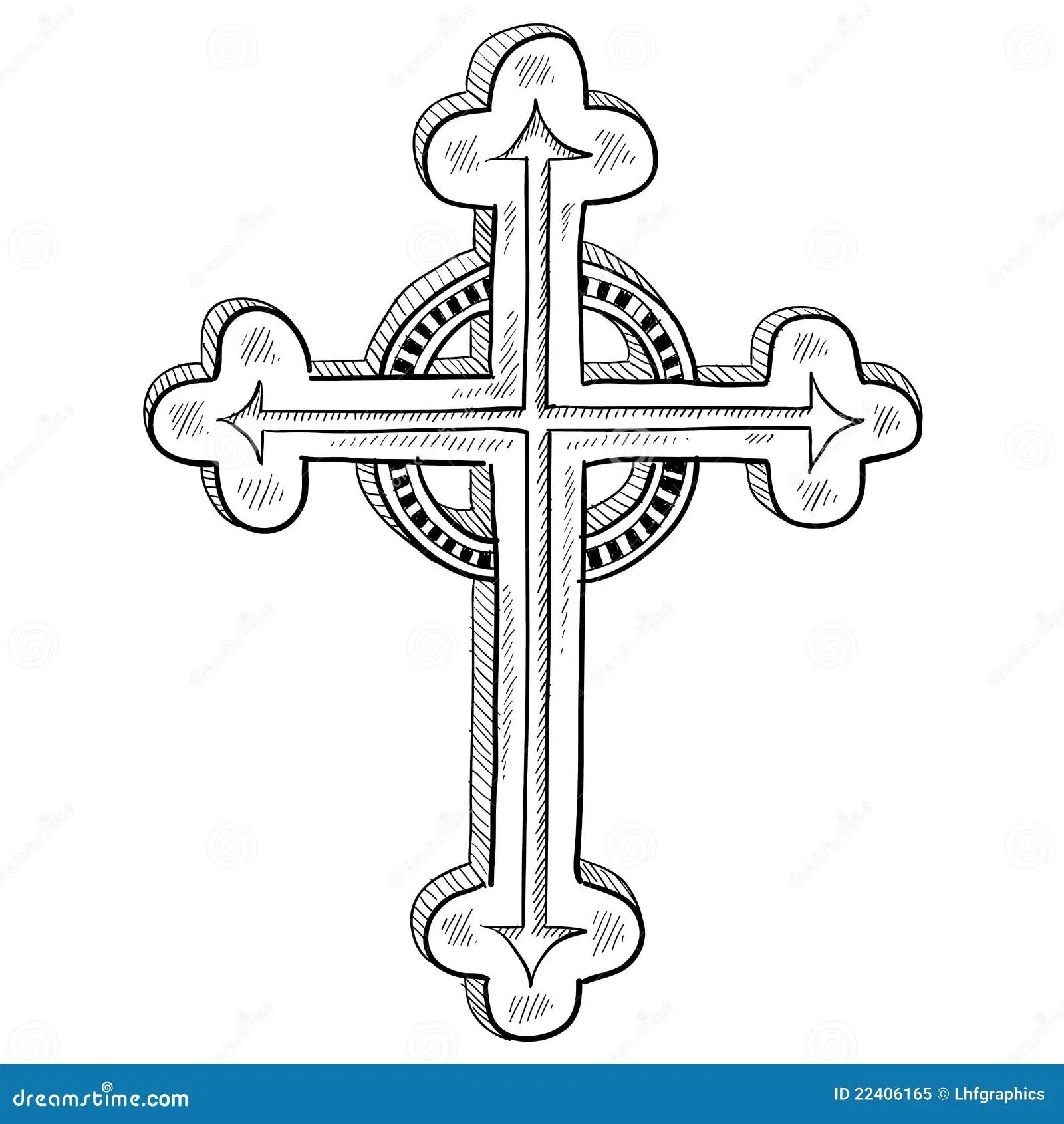Det Ortodoxa Korset Skissar Vektor Illustrationer
