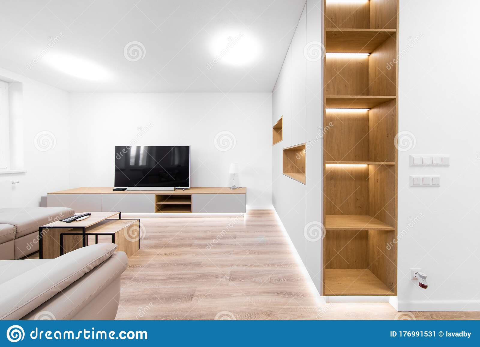 detail of lighting cabinet in living room with tv stock image image of bulb home 176991531