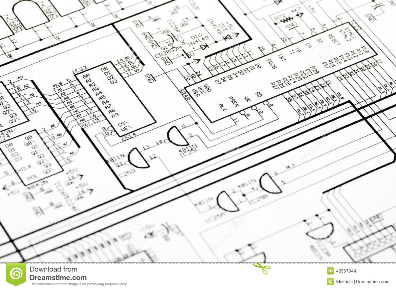 Detailed Technical Drawing Stock Photo