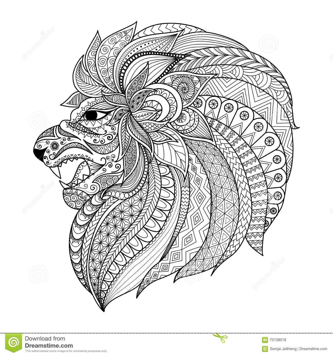 Detailed Zentangle Stylized Lion For T Shirt Graphic Coloring Book Pages For Adult Cards