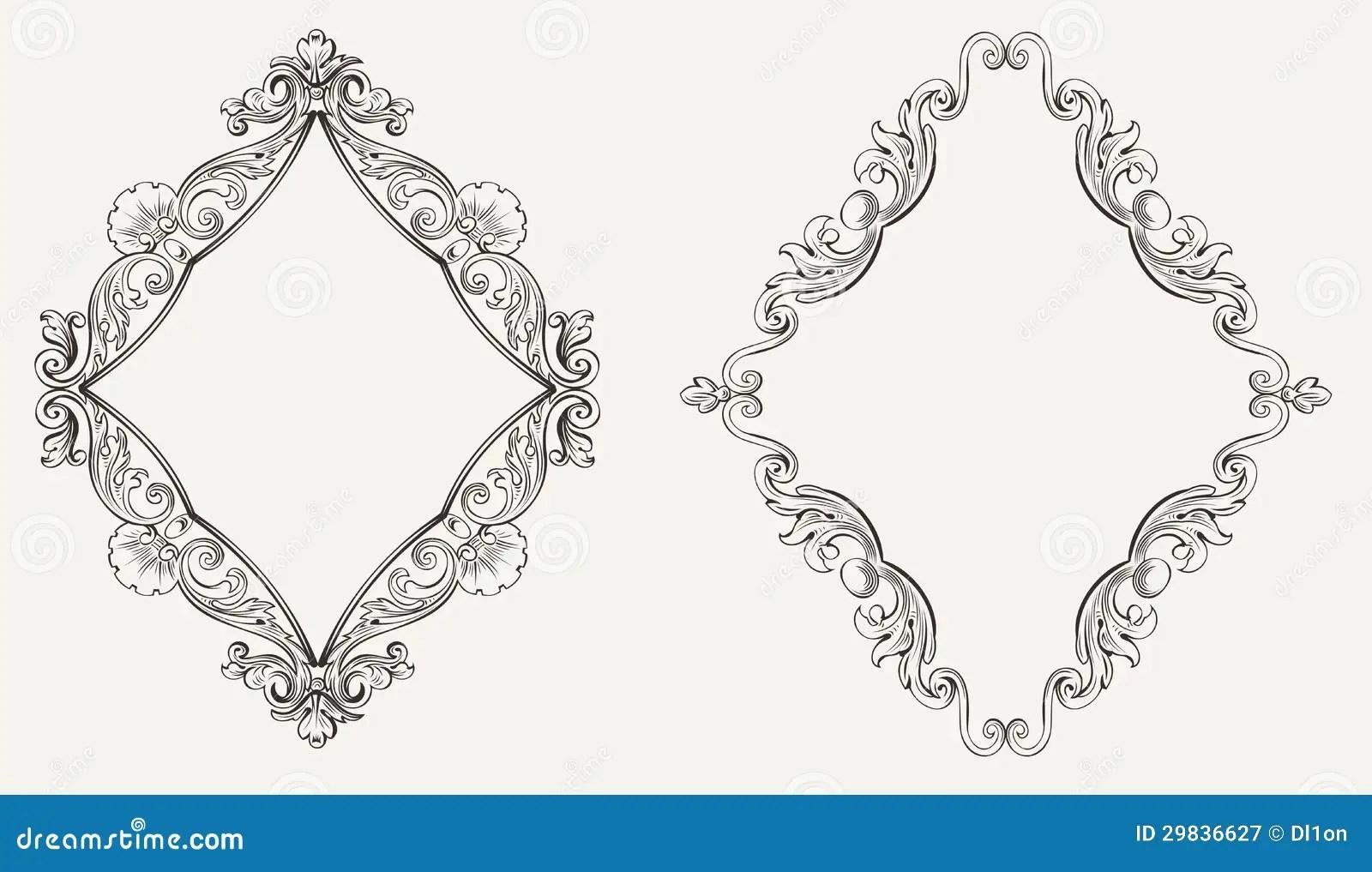 Deux Cadres Originaux De Losange De Calligraphie