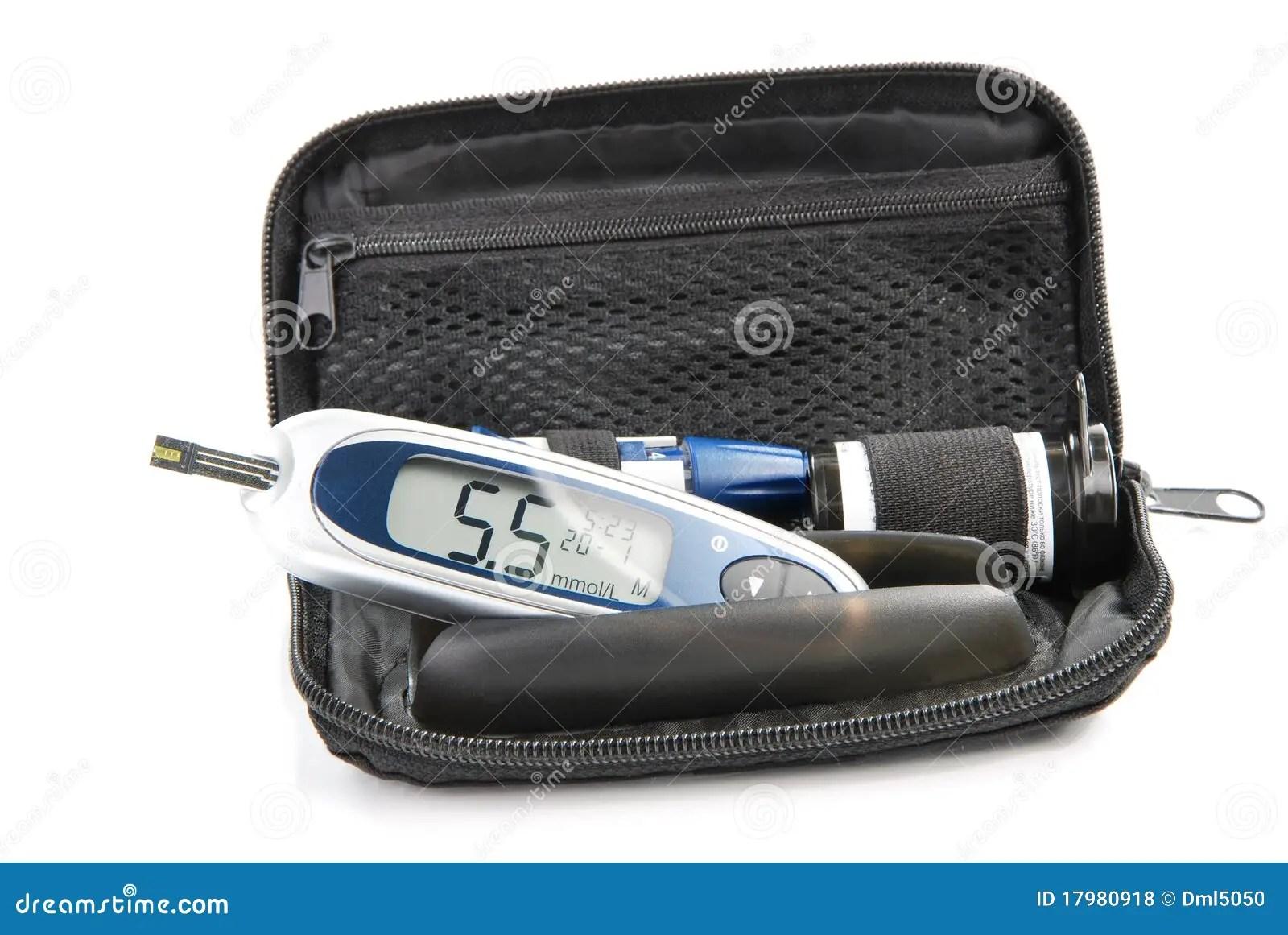 Diabetic Glucometer Blood Sugar Level Testing Kit Stock Photo