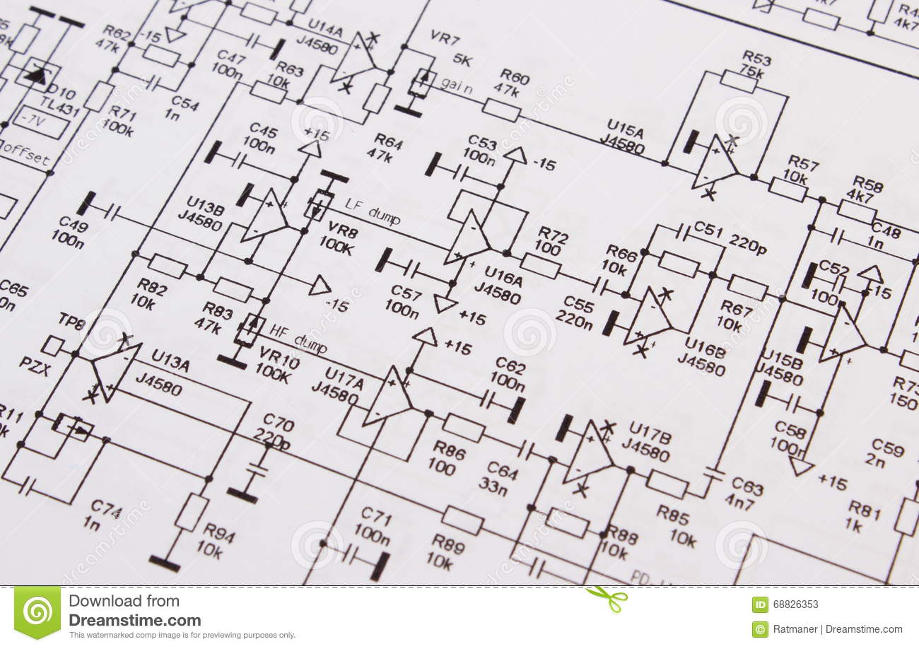 Diagram Of Electronics Printed Circuit Board Stock Image