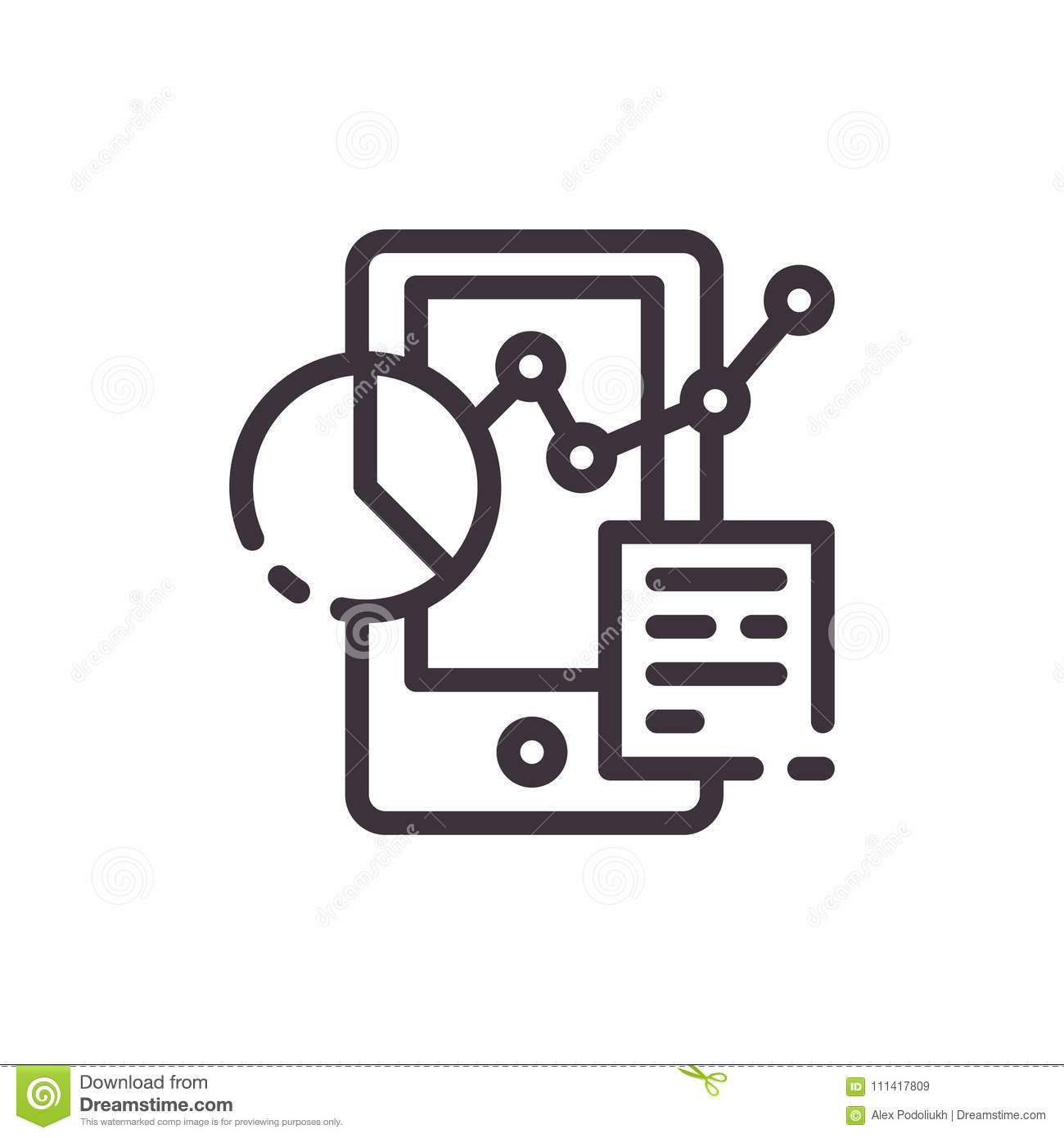 Chart And Graph In Phone Icon Stock Vector
