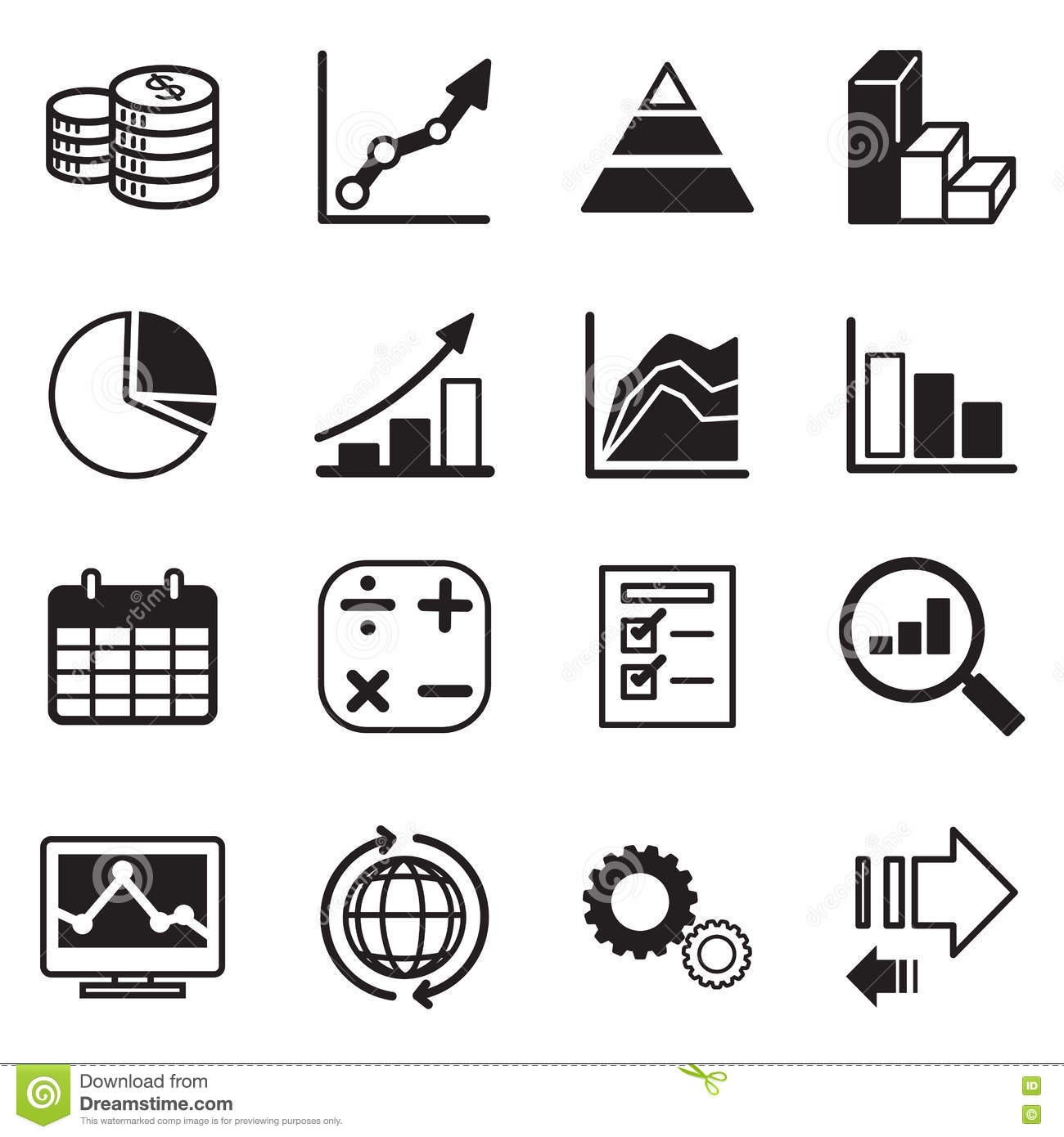 Diagram And Graphs Icons Set Stock Illustration