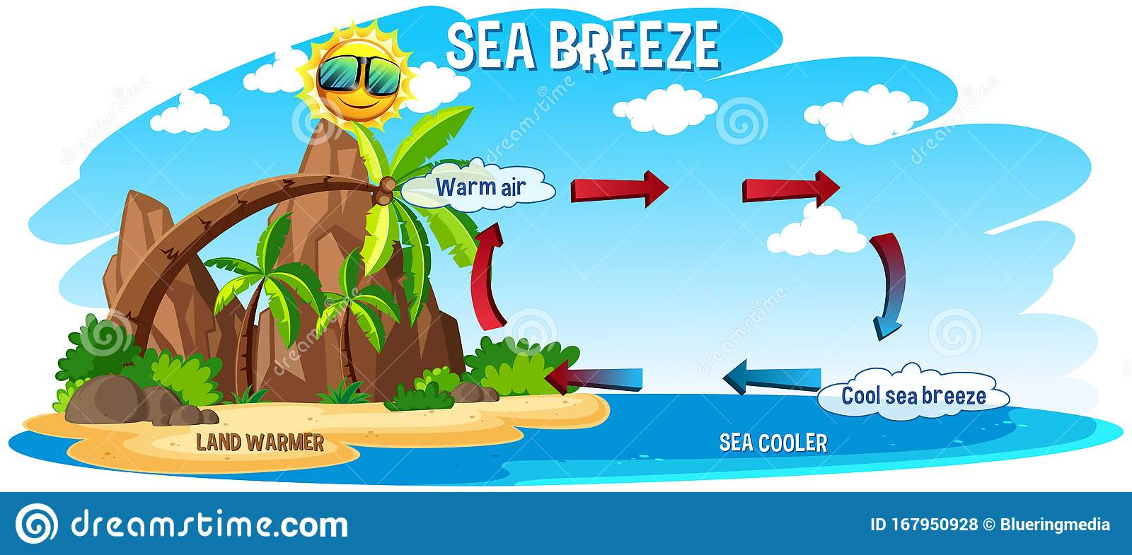 Diagram Showing Sea Breeze With Ocean And Land Stock