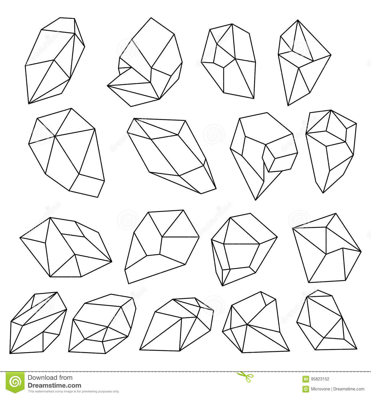 Diamond 3d Shapes Natural Crystals Outline Gem Stones