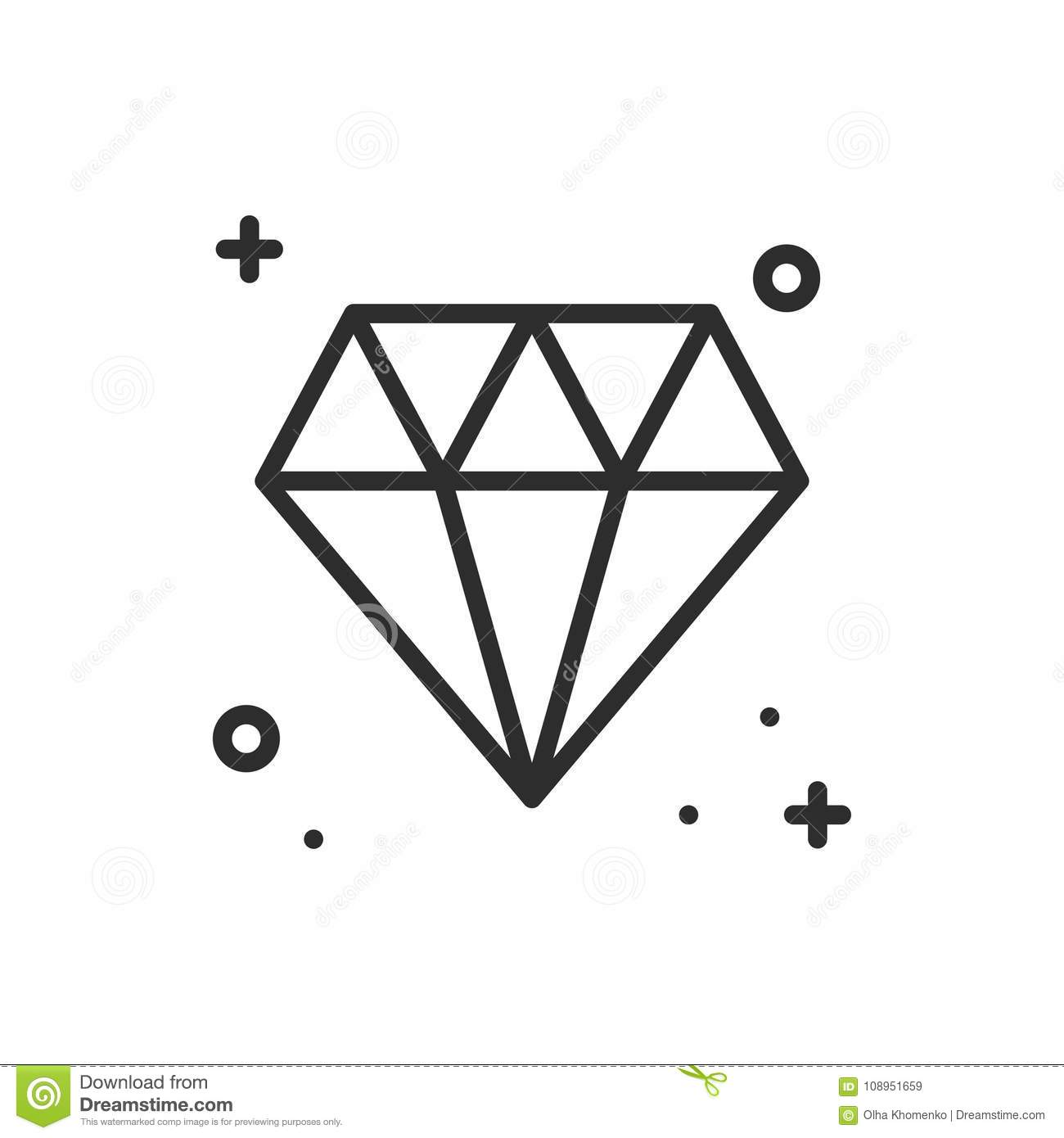 Diamond Gem Jewel Line Icon Precious Stone Sign And