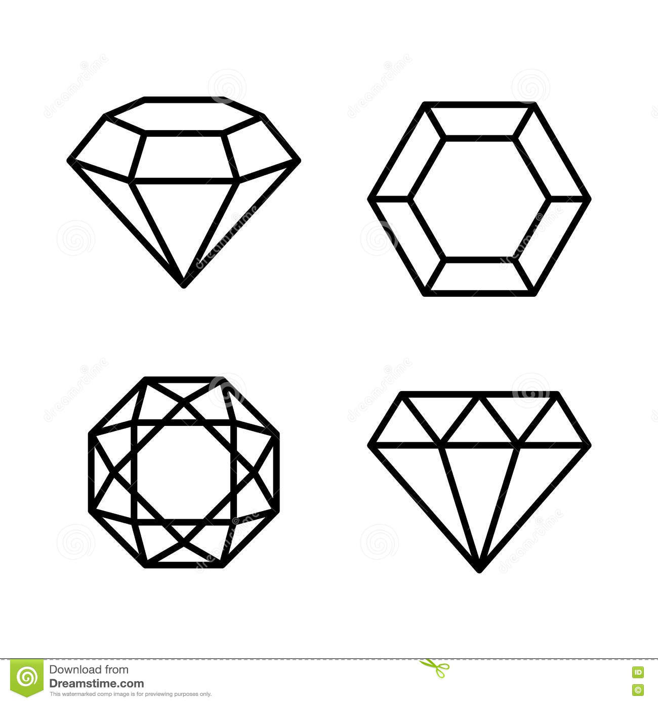 Diamond Gems Icons Set On White Background Vector Stock
