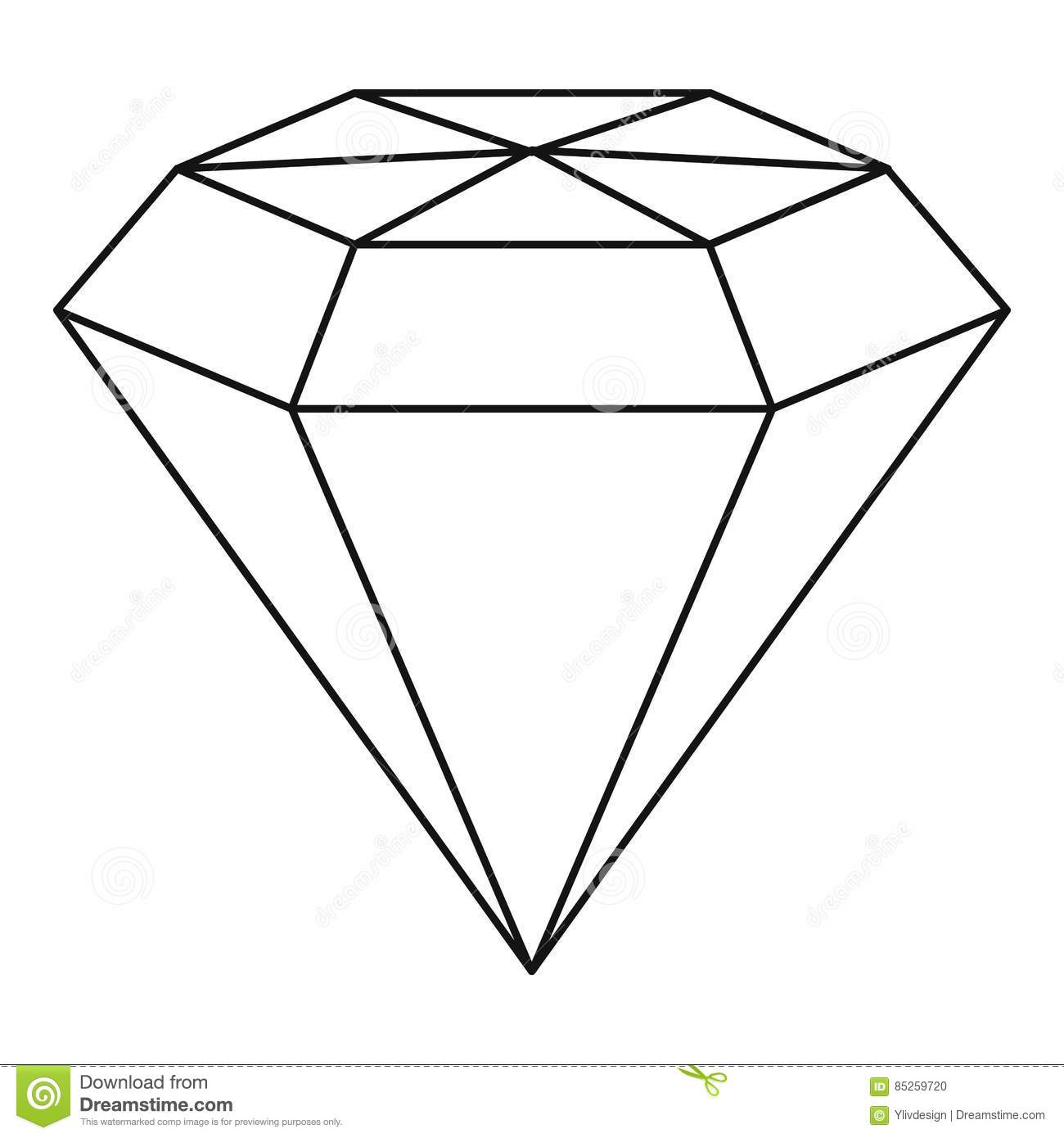 Diamond Gemstone Icon Outline Style Stock Vector