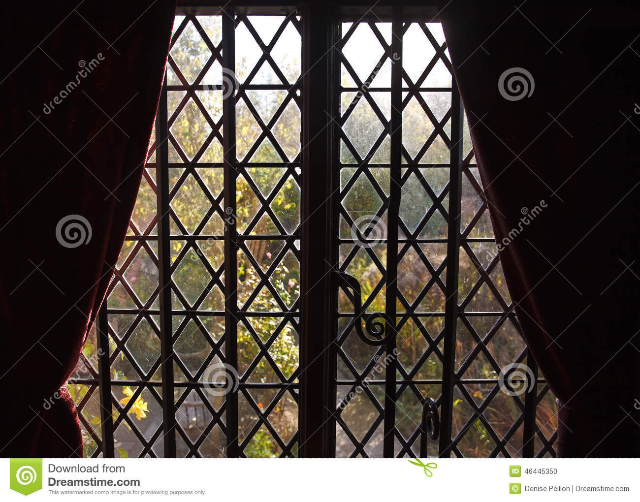 Diamond Lattice Window Trim In Silhouette Stock Photo Image 46445350