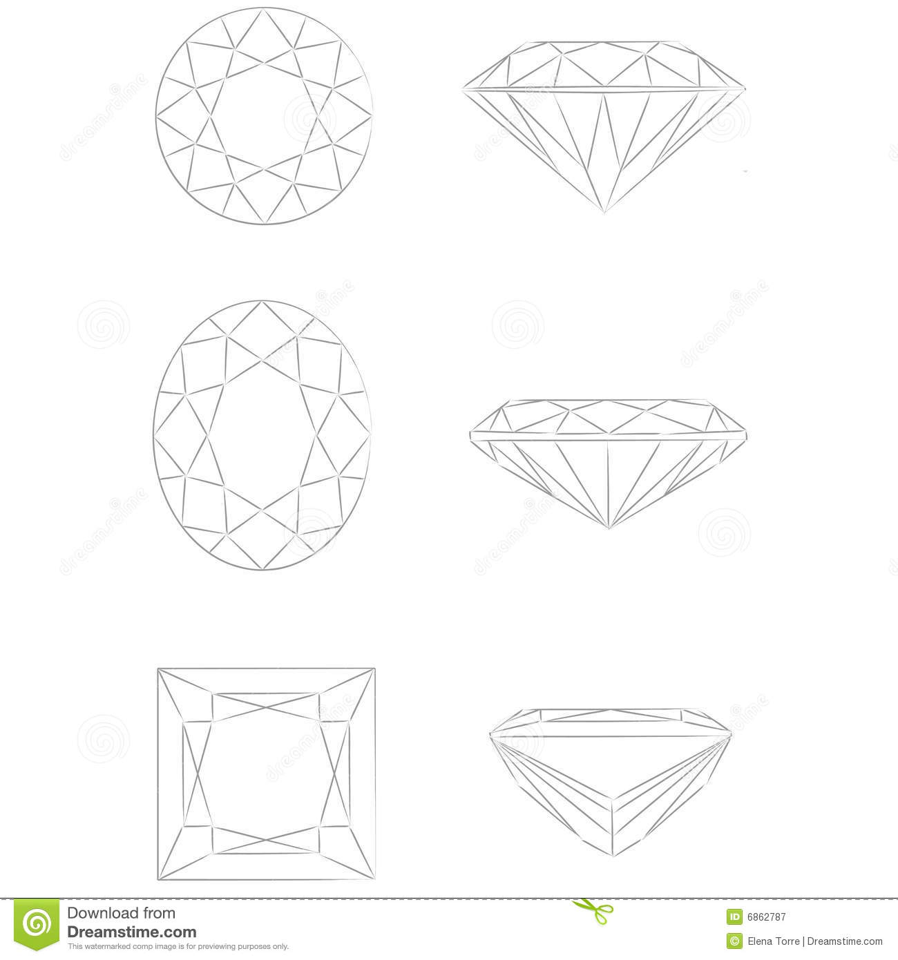 Diamond Shapes Vector Round Brilliant