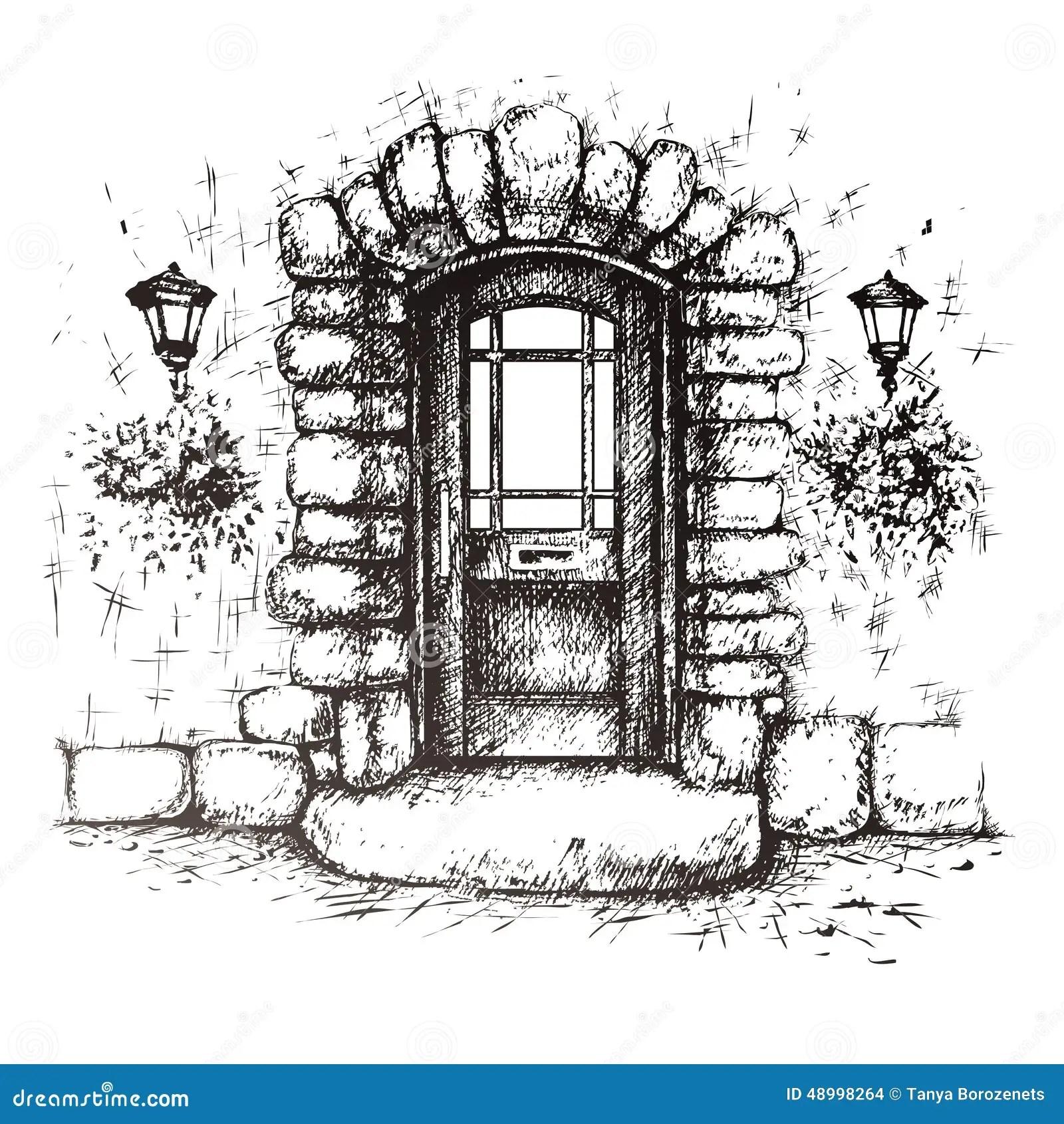 Dibujo A Pulso De La Vieja Puerta Principal Ilustracion