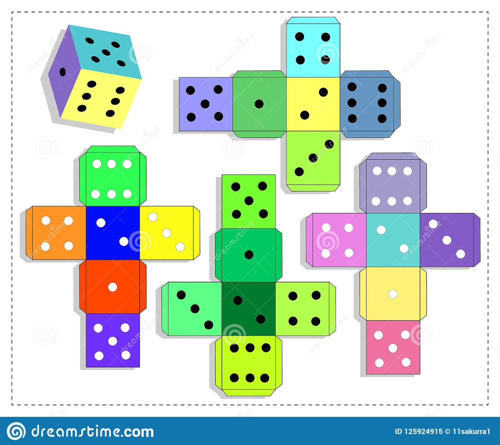 Dice For Board Game Template Stock Vector