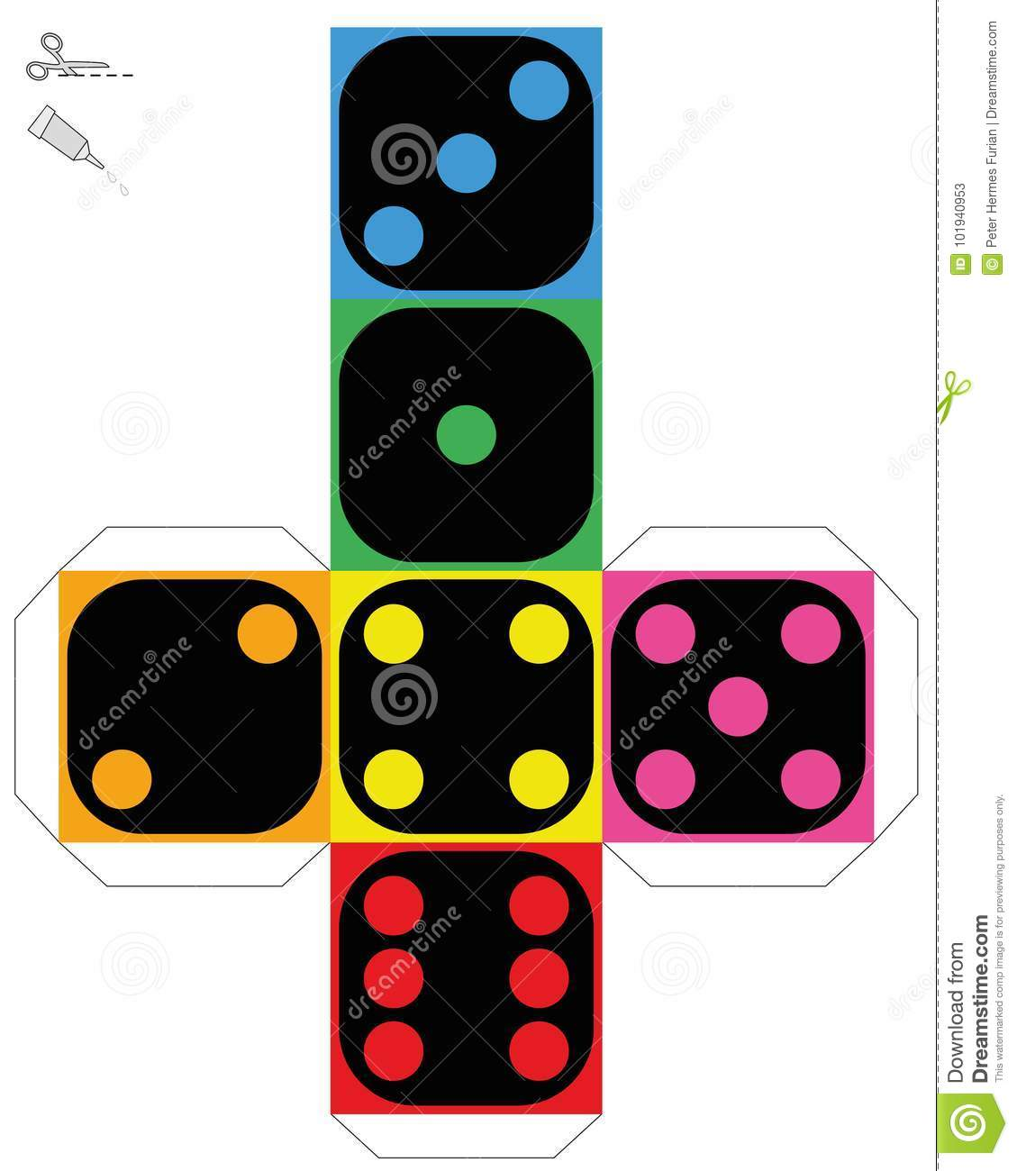 Dice Template Construction Sheet Bright Colors Stock