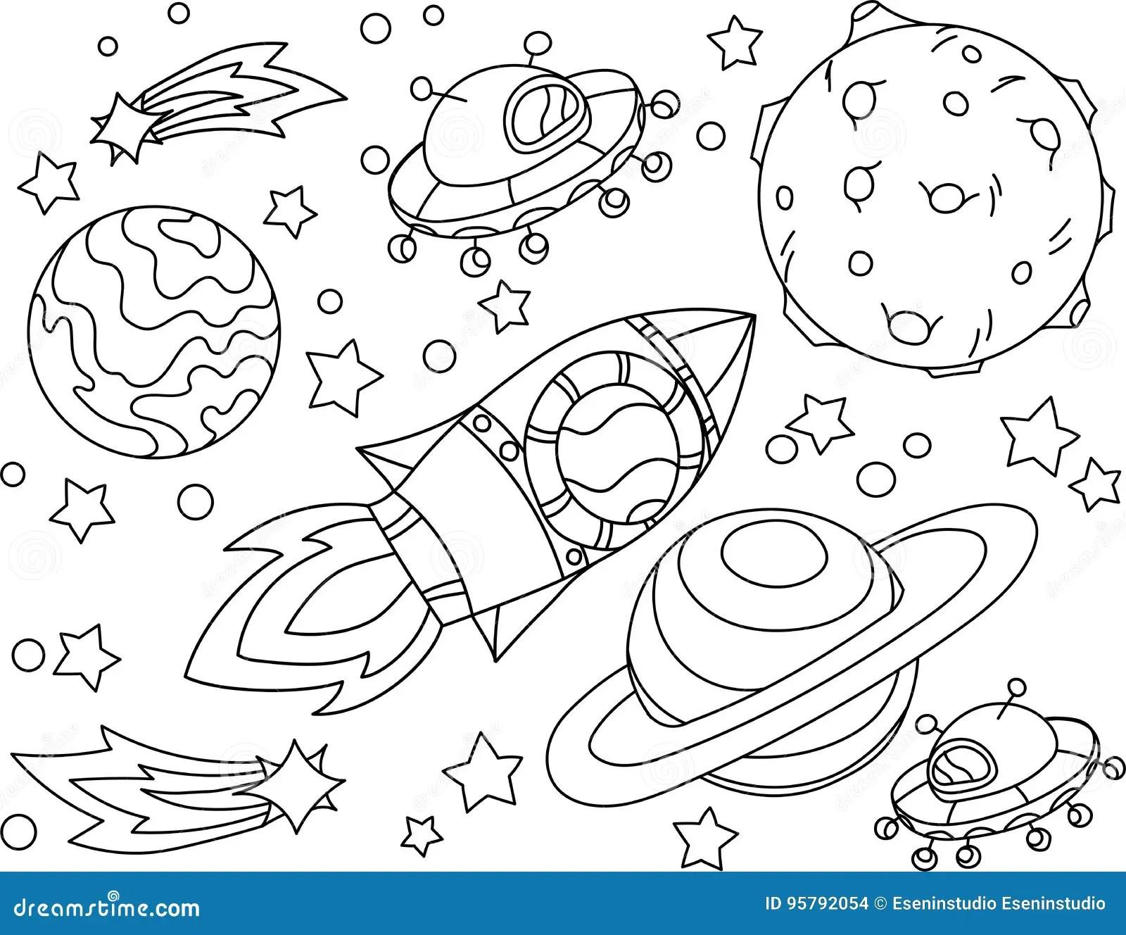 Rakete Fliegt Zum Mondmalbuch Antistress Planet Erde