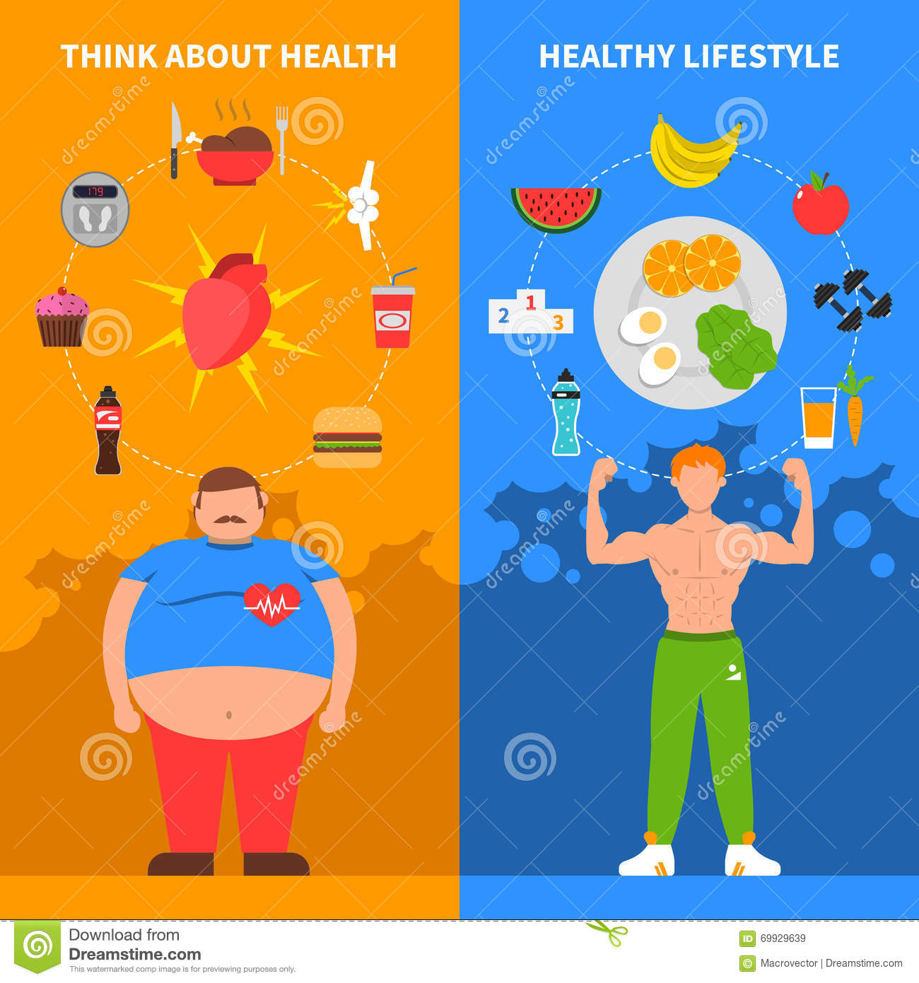 Healthy And Unhealthy Man Banners Set Vector Illustration