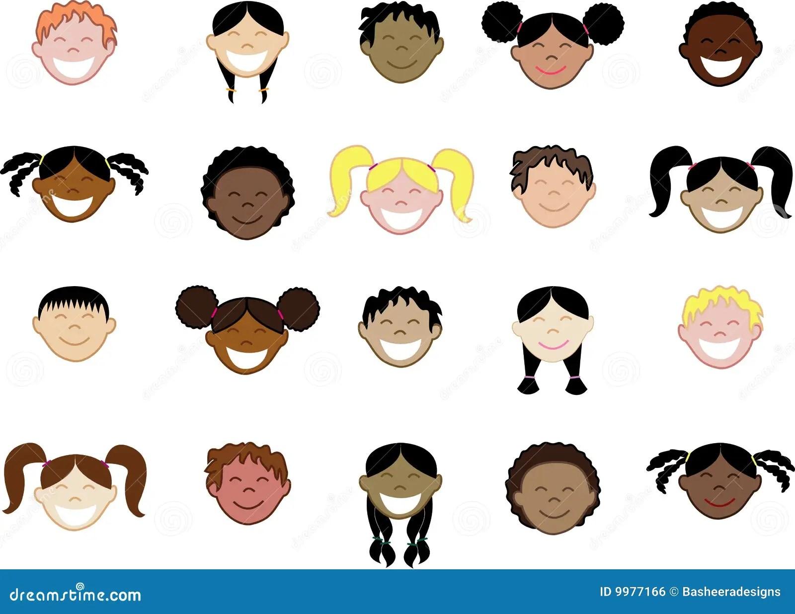 Differents Visages S Vingt D Enfants Image Libre De Droits