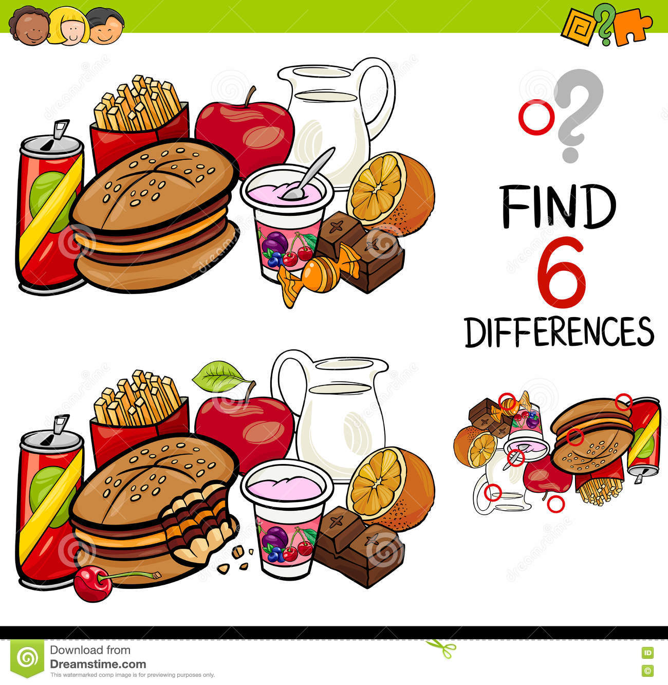 Difference Game With Food Objects Stock Vector