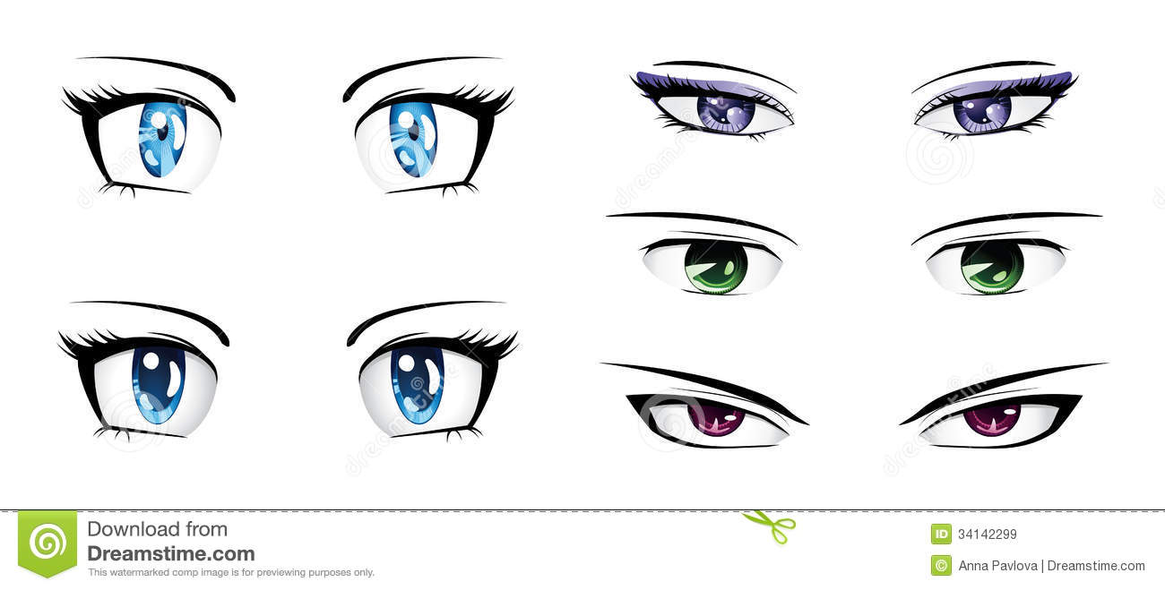 Different anime eyes royalty free stock images image 34142299